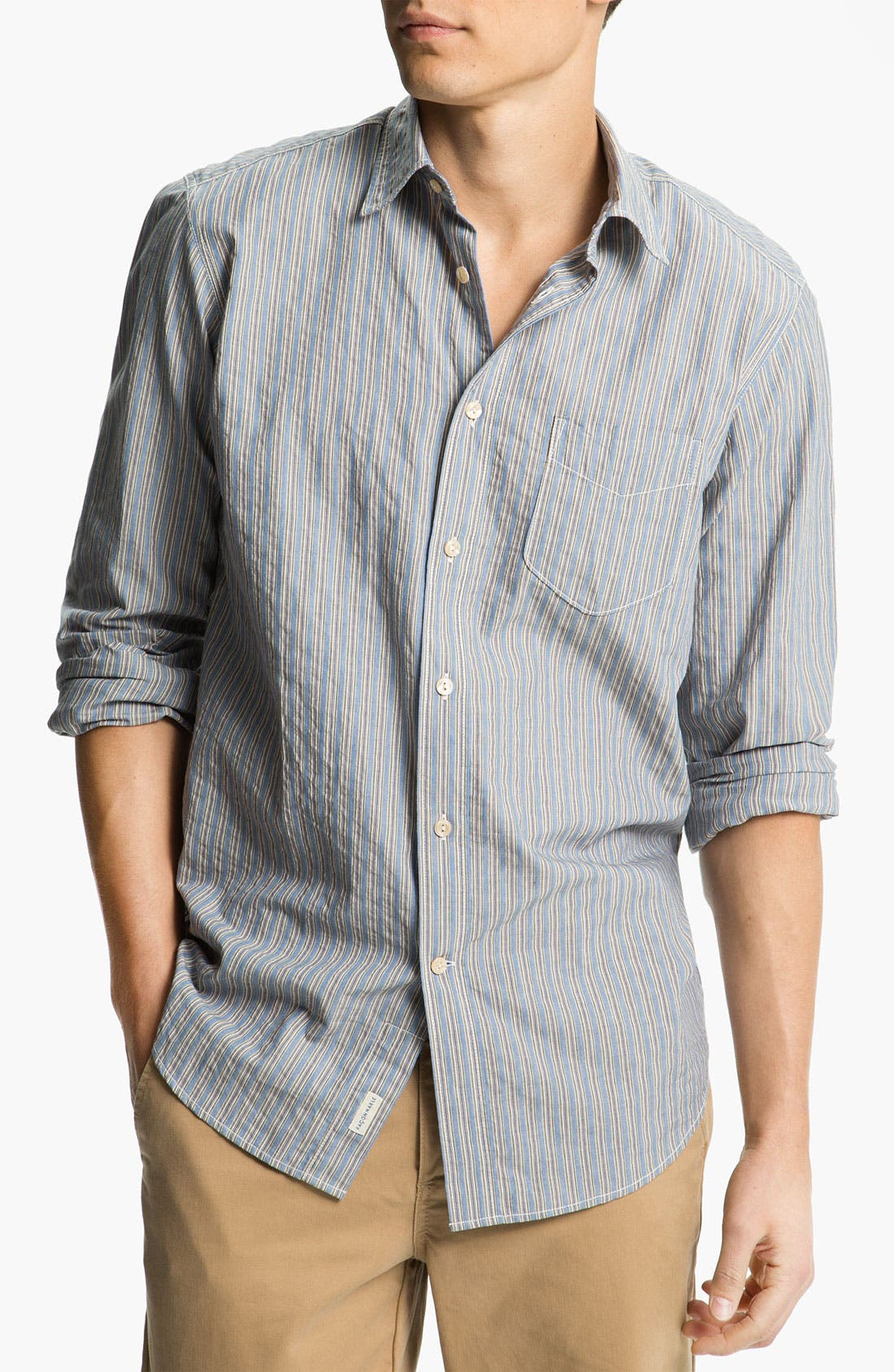 Alternate Image 1 Selected - Façonnable Denim Trim Fit Sport Shirt