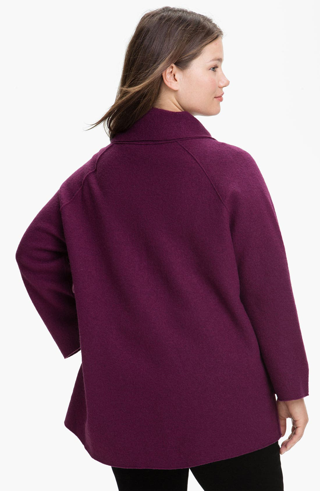 Alternate Image 2  - Eileen Fisher Funnel Neck Boiled Wool Coat (Plus)
