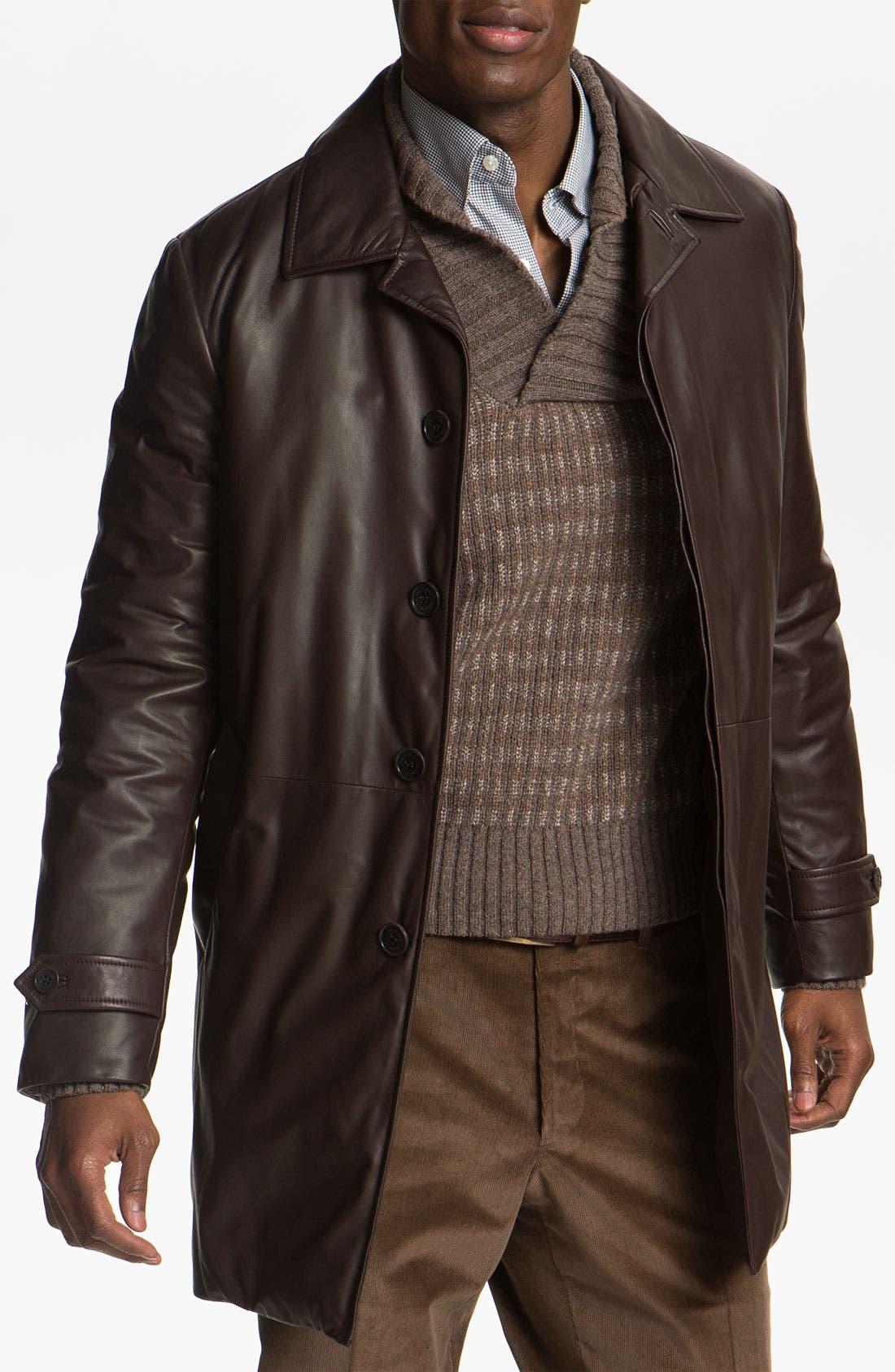 Alternate Image 1 Selected - Canali Leather Coat