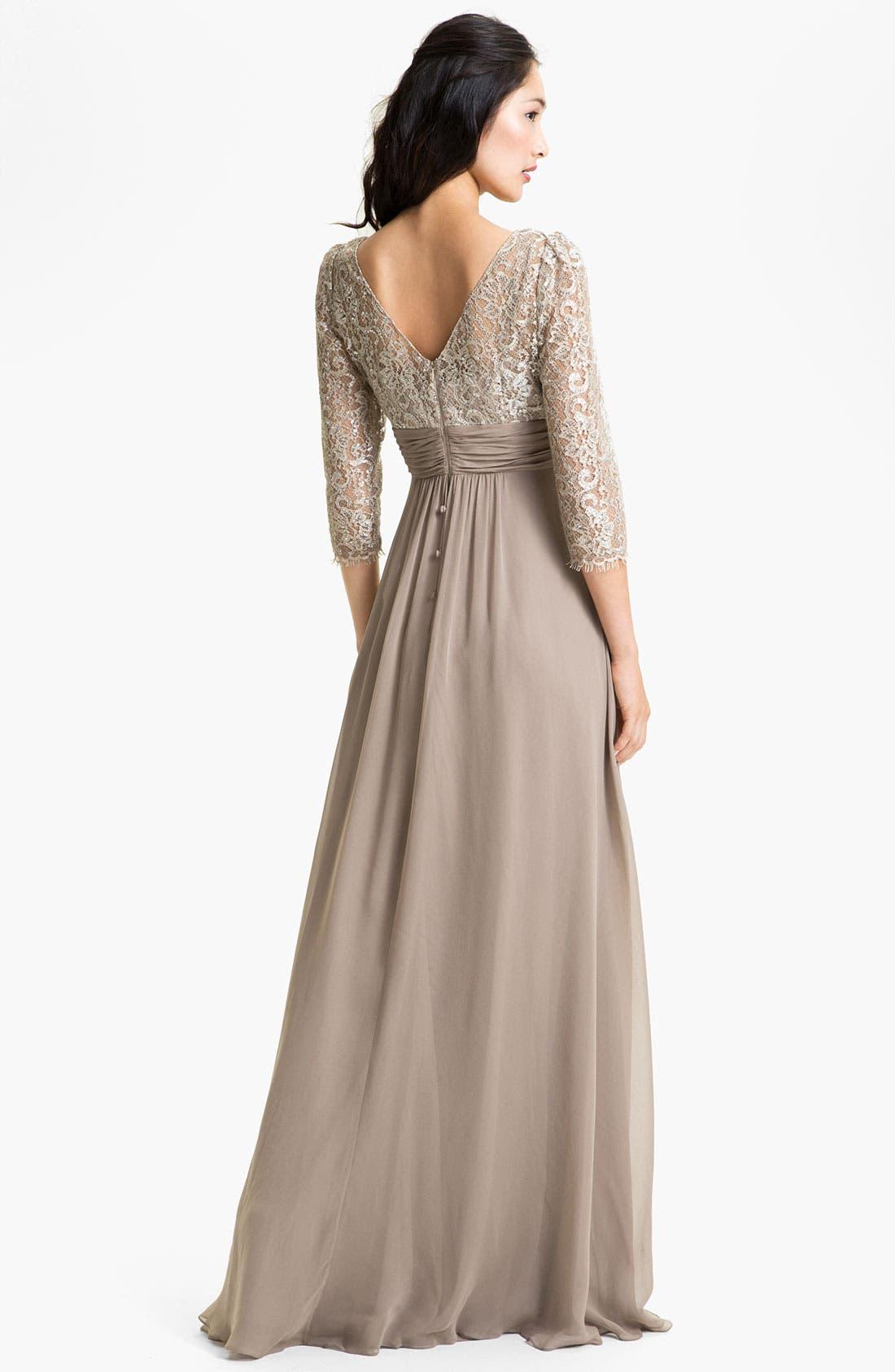 Alternate Image 2  - Teri Jon Lace & Chiffon A-Line Gown