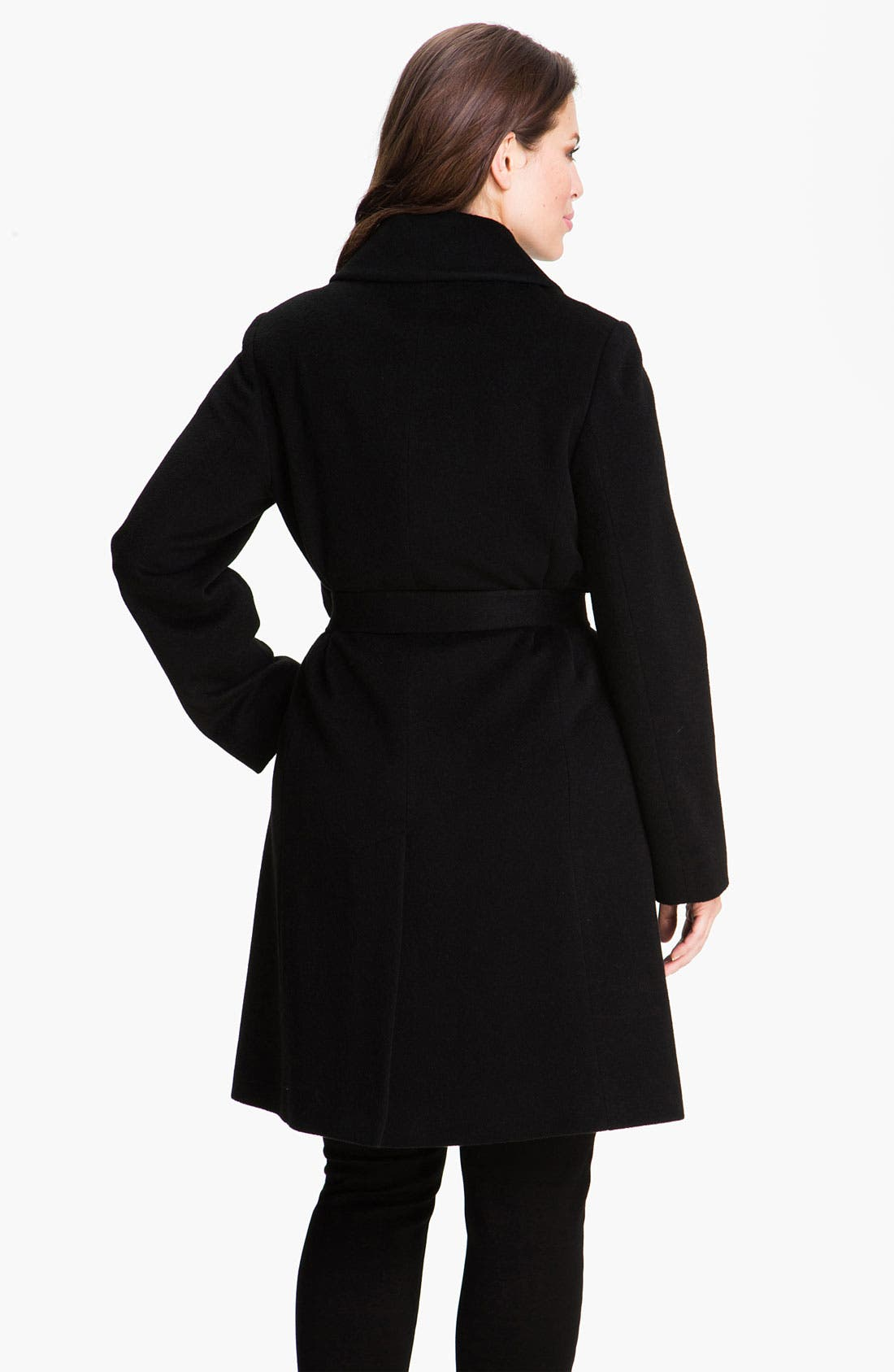 Alternate Image 2  - Fleurette Cashmere Blend Wrap Coat (Plus)
