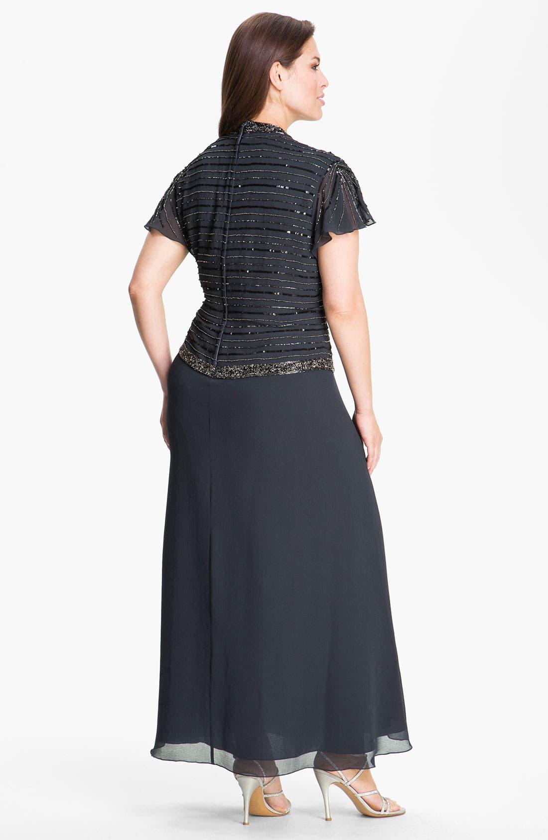 Alternate Image 2  - J Kara Mock Two Piece Gown (Plus)