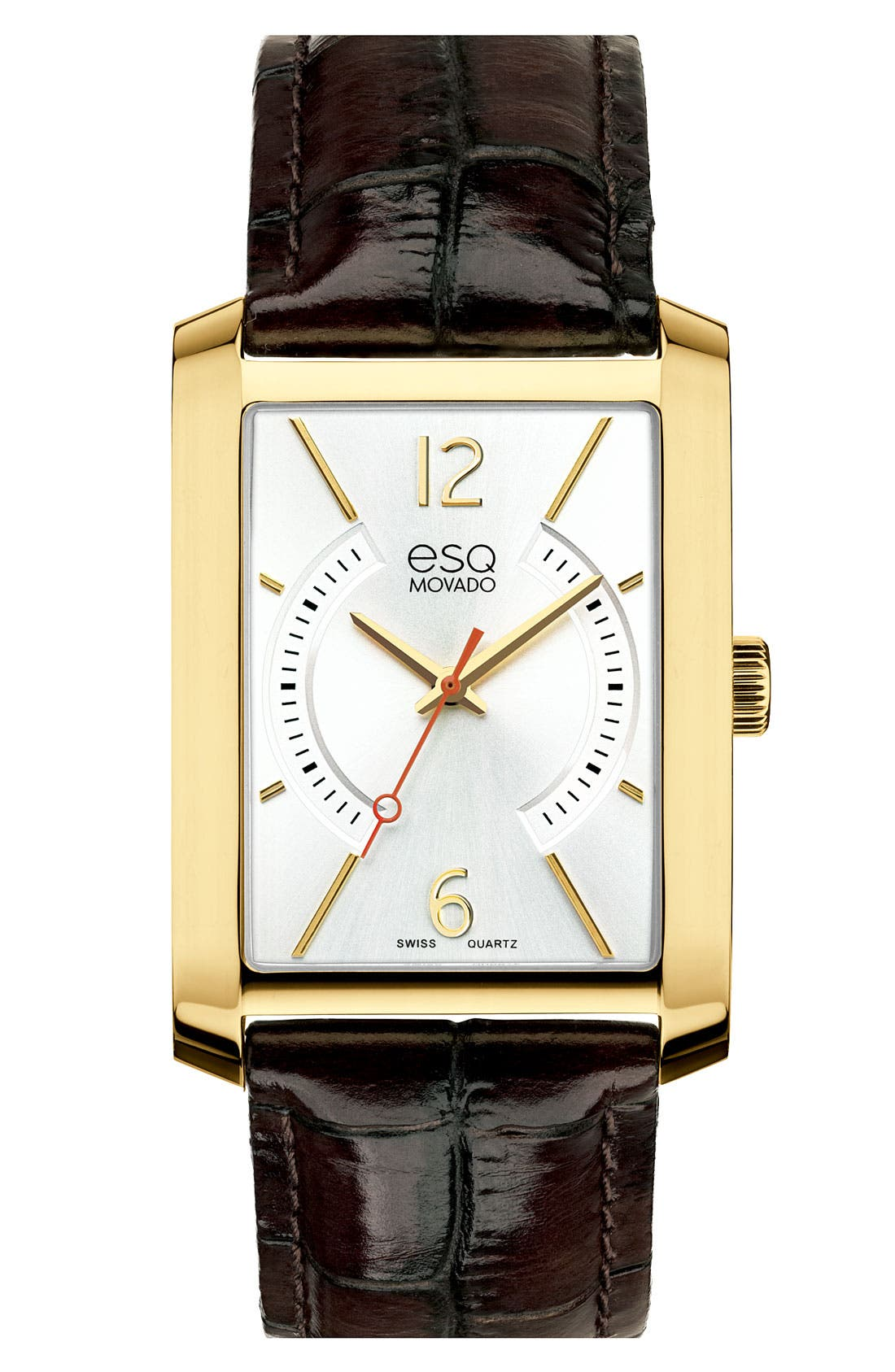 Main Image - ESQ Movado 'Synthesis' Rectangular Leather Strap Watch, 32mm x 35mm