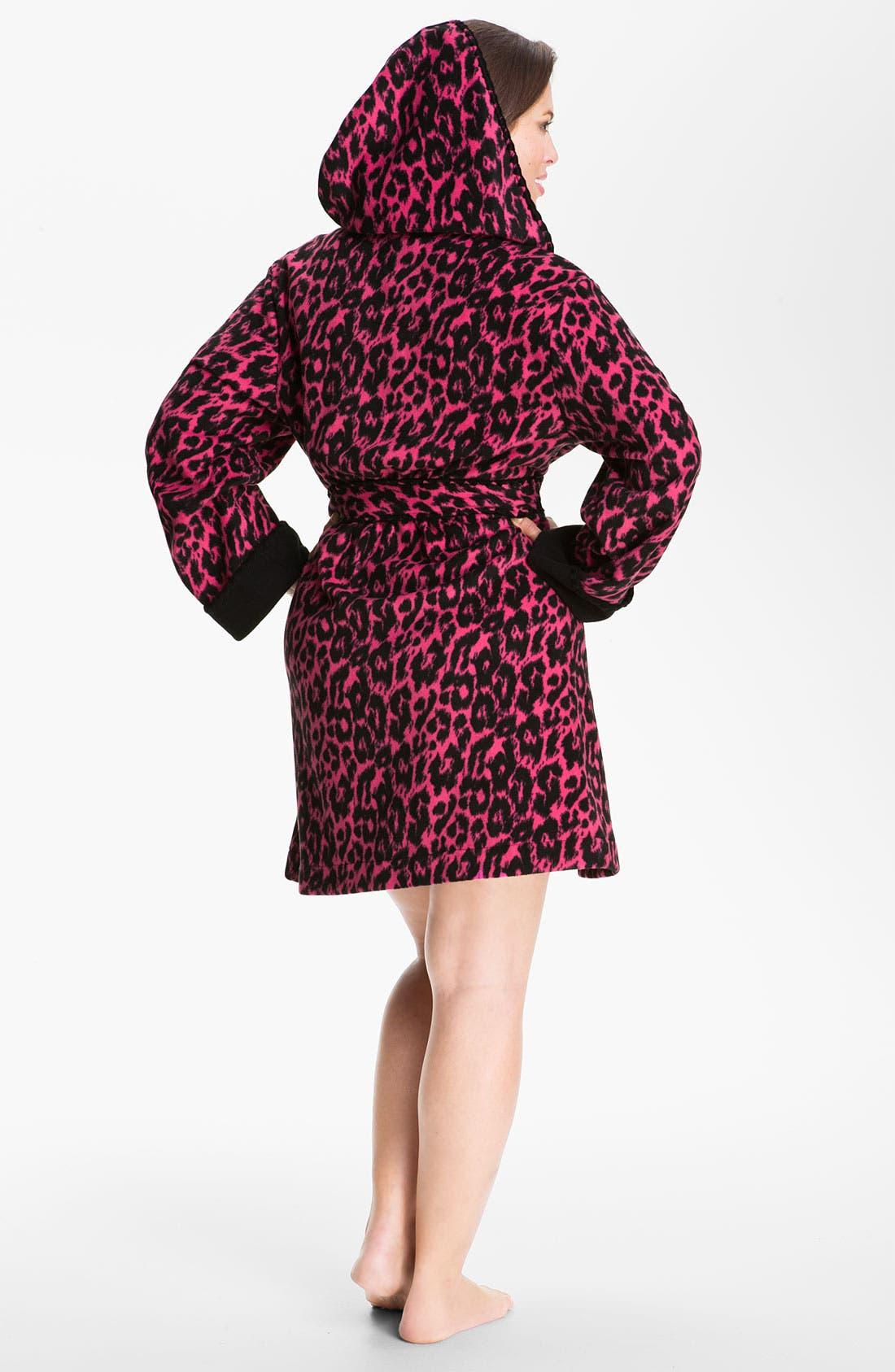 Alternate Image 2  - Betsey Johnson Hooded Microfleece Robe (Plus)