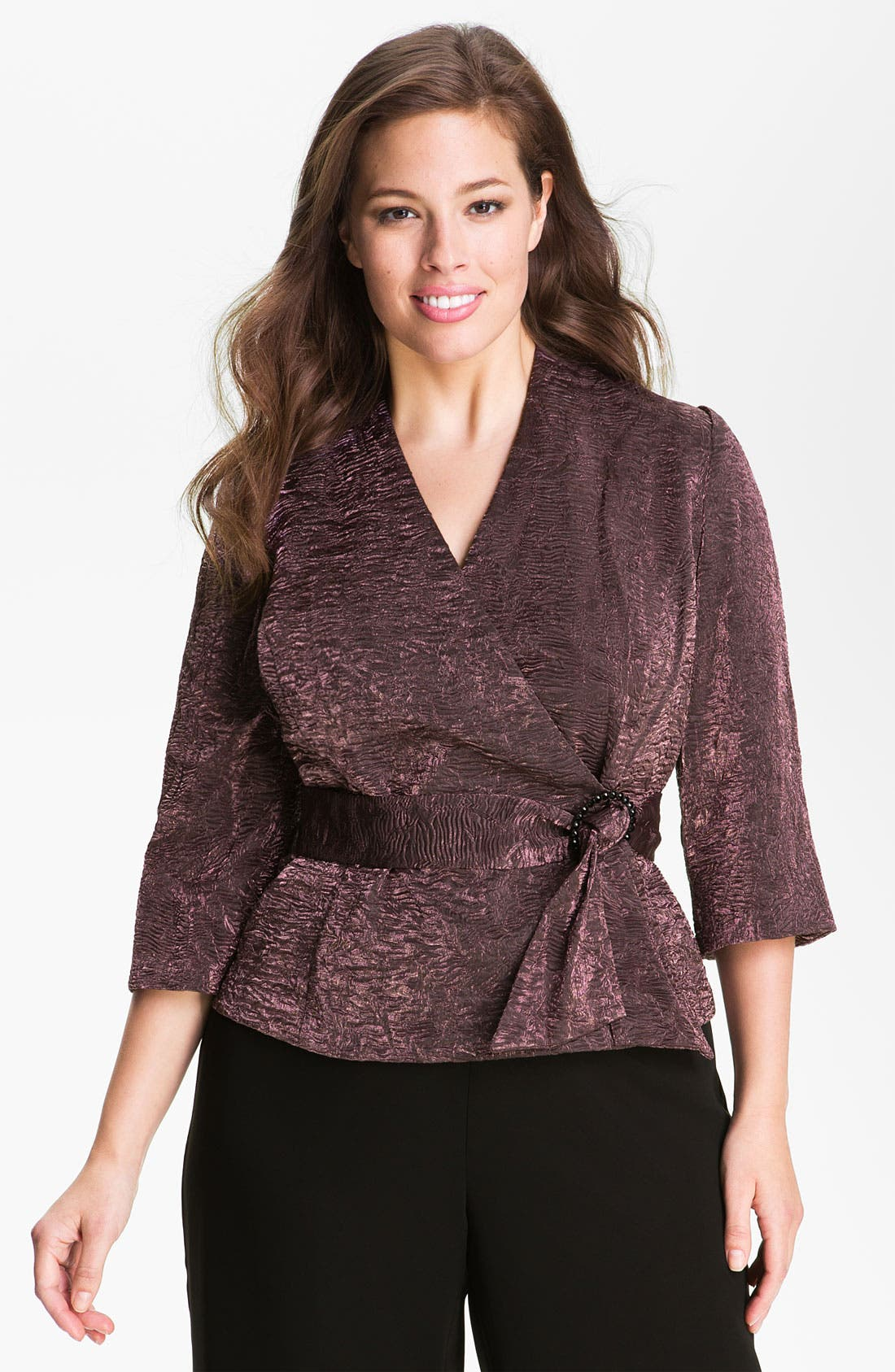 Main Image - Alex Evenings Faux Wrap Crepe Blouse (Plus)