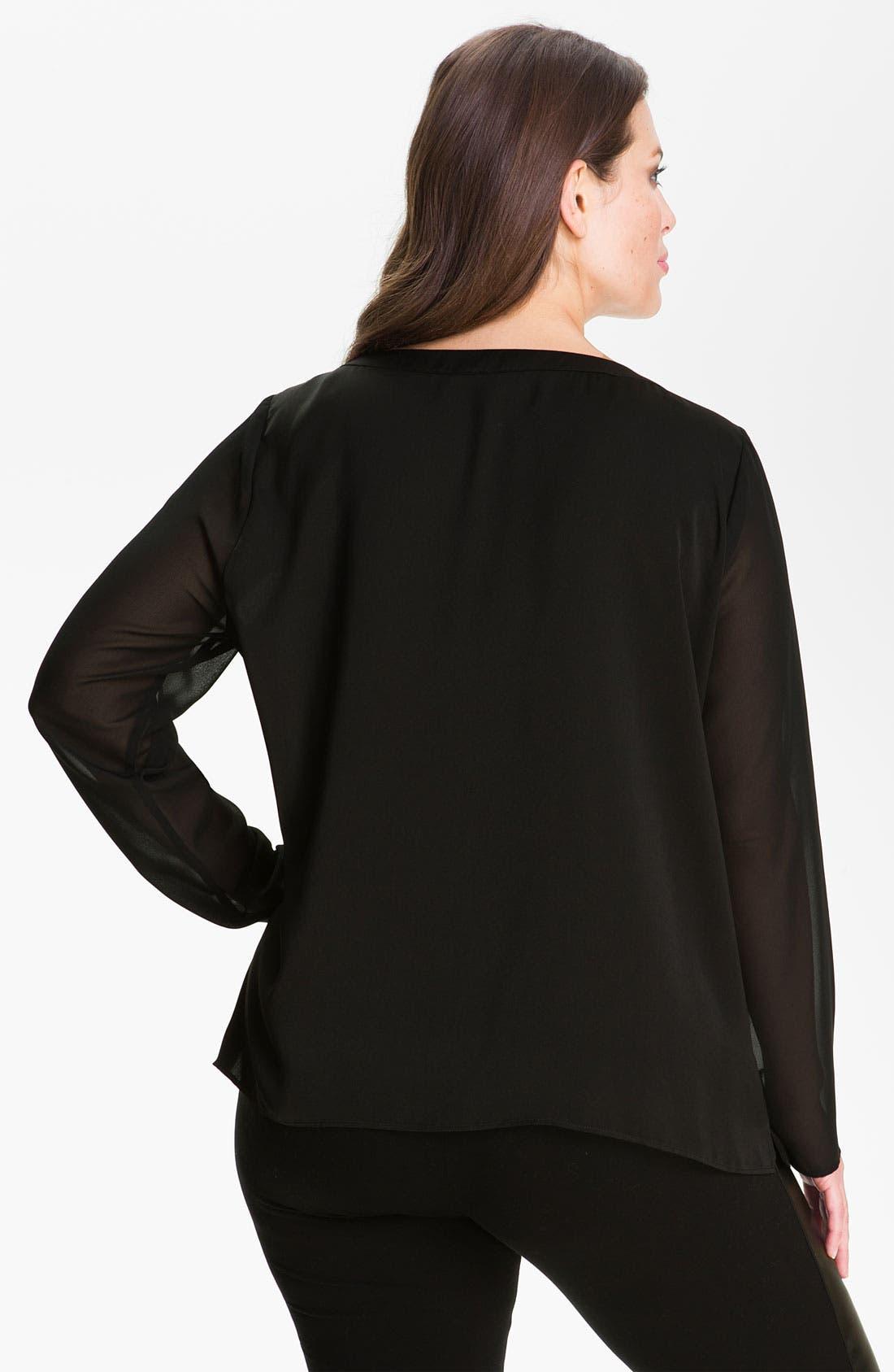 Alternate Image 2  - DKNYC Beaded Sheer Sleeve Top (Plus)
