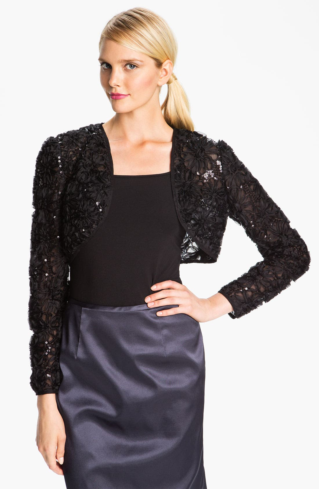 Alternate Image 1 Selected - Adrianna Papell Embroidered Sequin Mesh Bolero