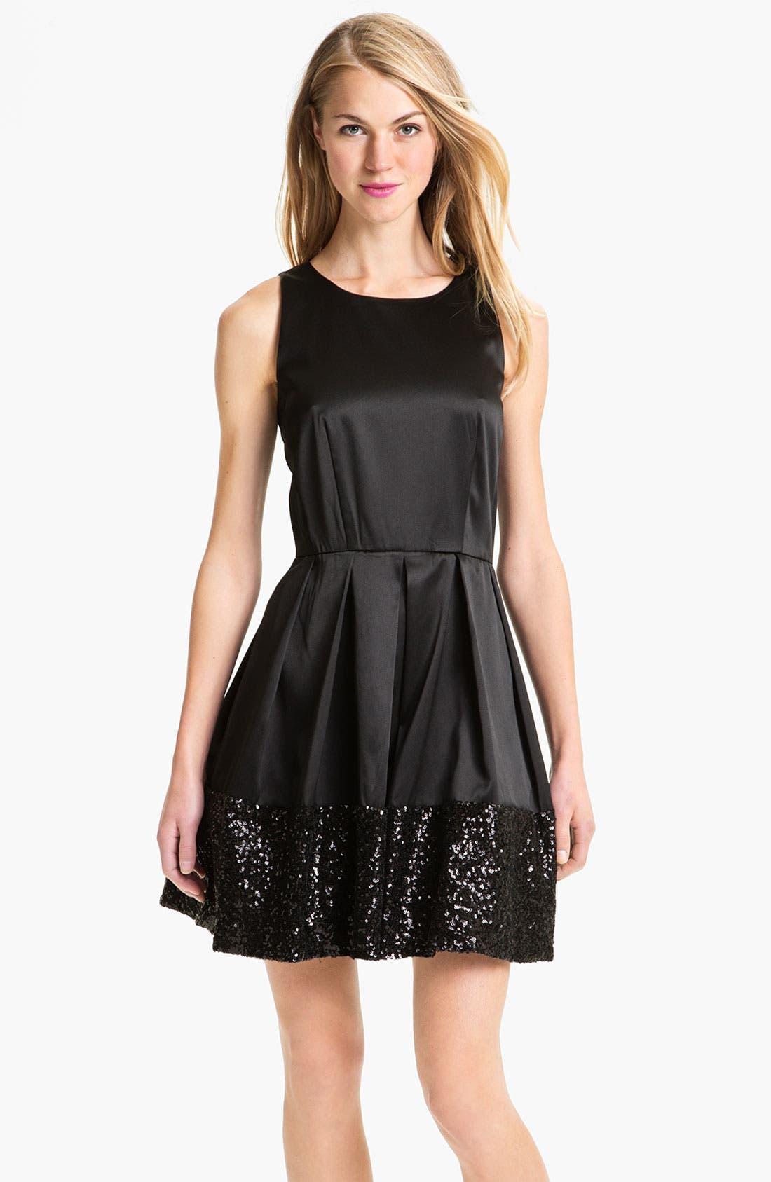 Alternate Image 1 Selected - Taylor Dresses Sequin Hem Satin Fit & Flare Dress