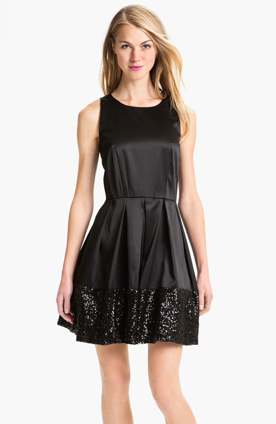 Main Image - Taylor Dresses Sequin Hem Satin Fit & Flare Dress