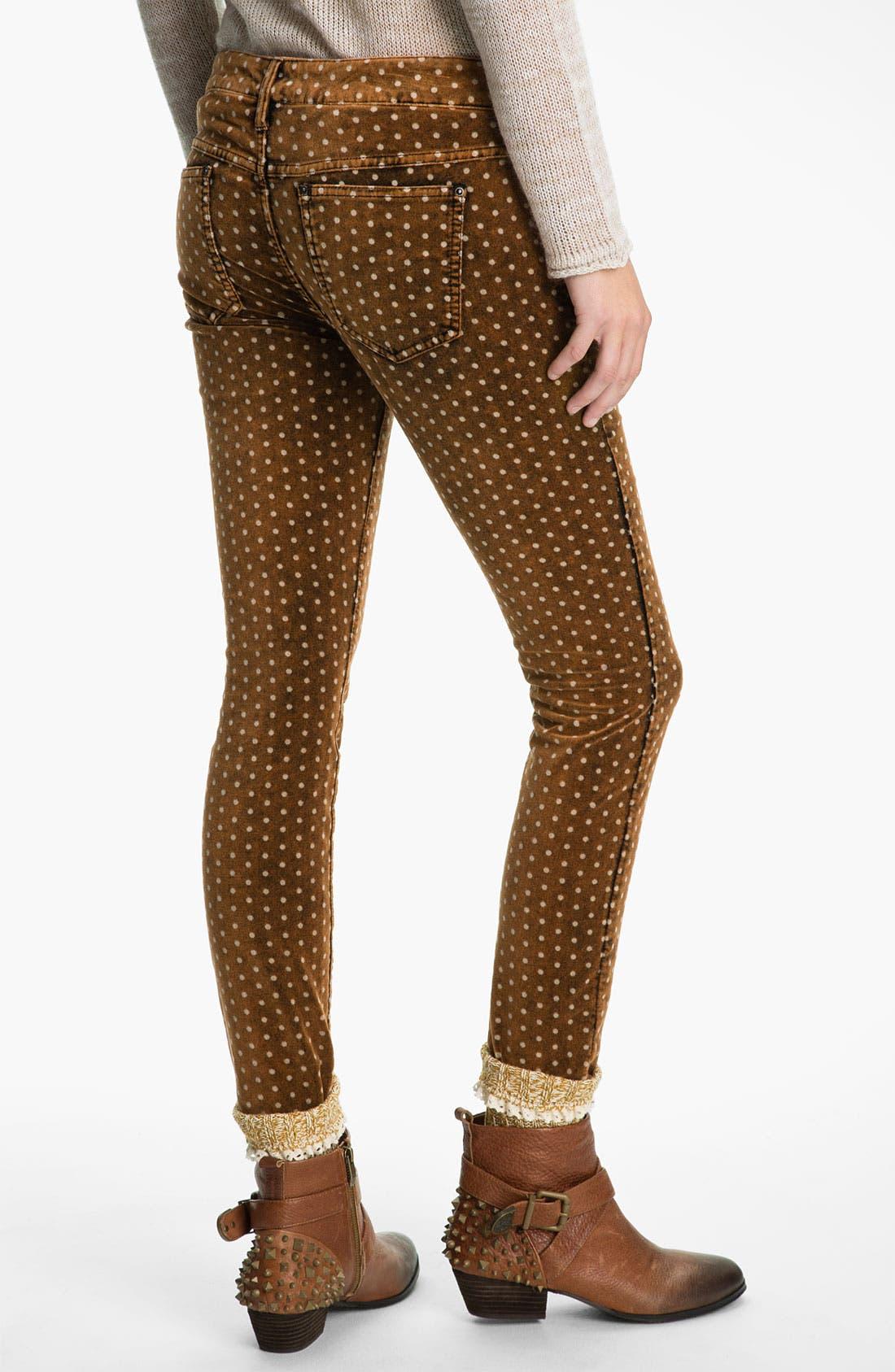 Alternate Image 2  - Free People Polka Dot Skinny Velvet Pants