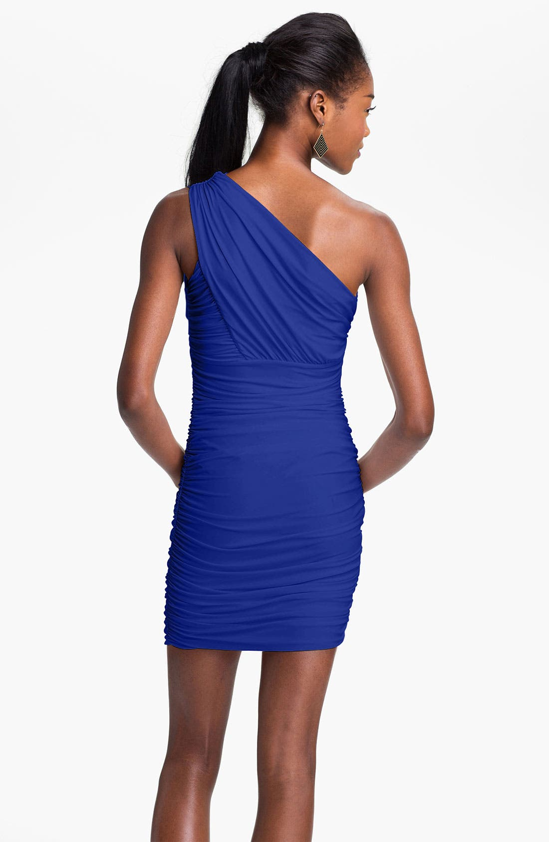 Alternate Image 2  - Soprano Ruched One Shoulder Dress (Juniors)