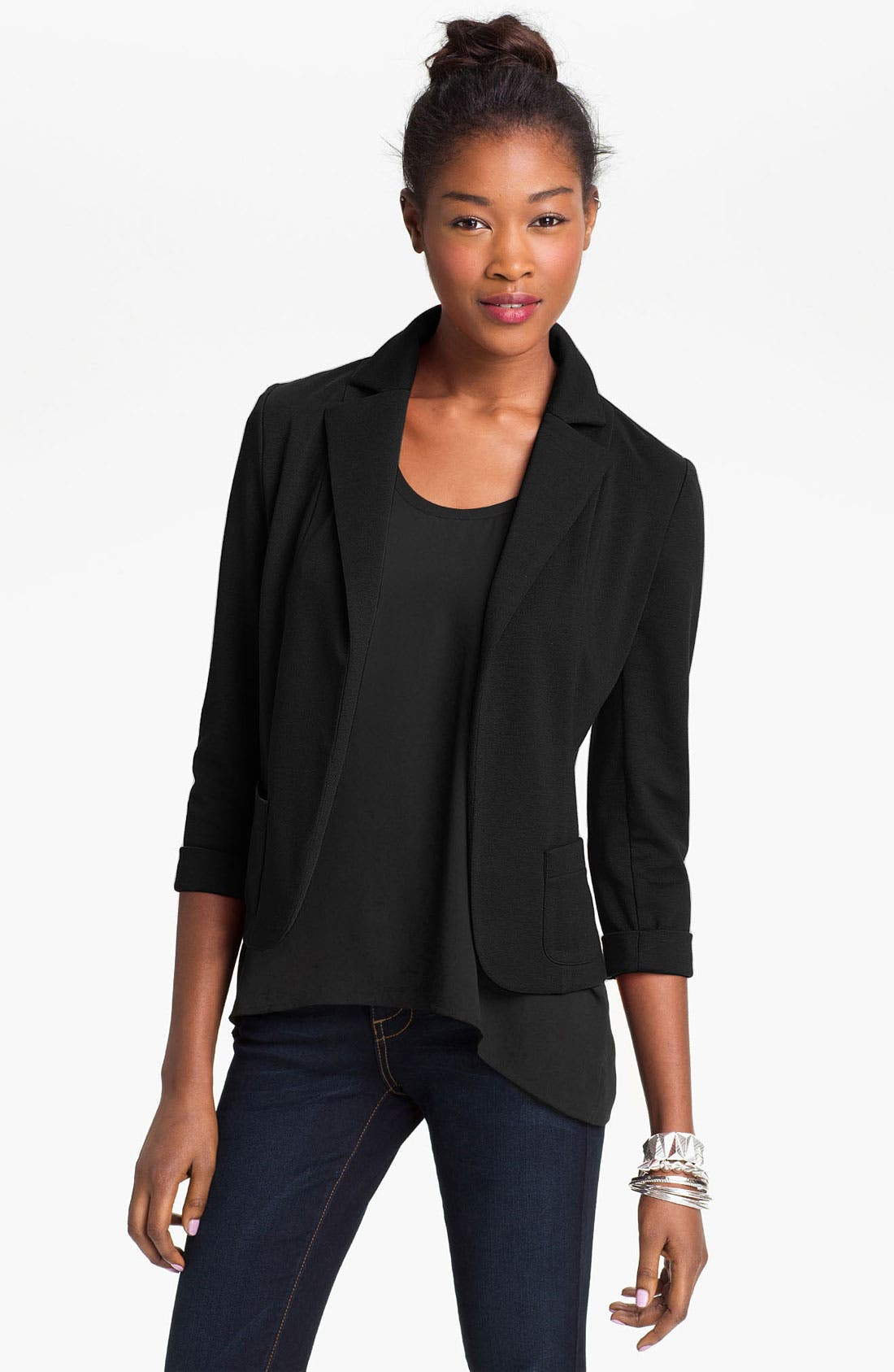 Alternate Image 1 Selected - Necessary Objects Knit Blazer (Juniors)