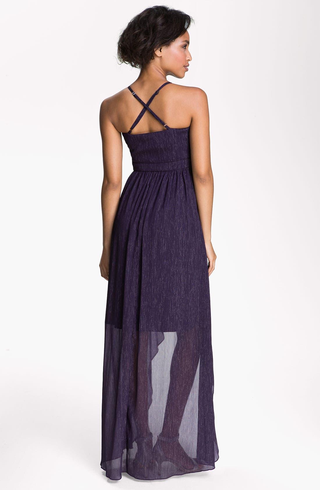 Alternate Image 2  - Max & Cleo 'Sophia' Metallic Chiffon High/Low Dress