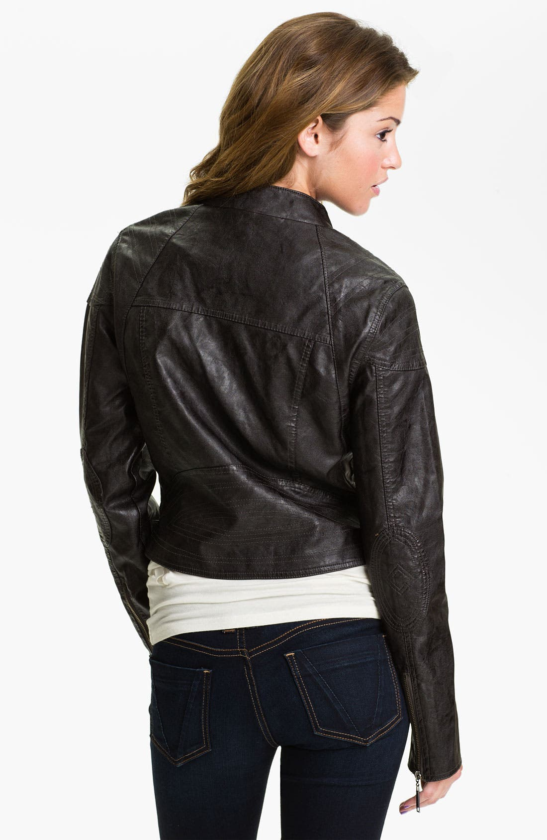 Alternate Image 2  - Jou Jou Weathered Faux Leather Quilted Moto Jacket (Juniors)