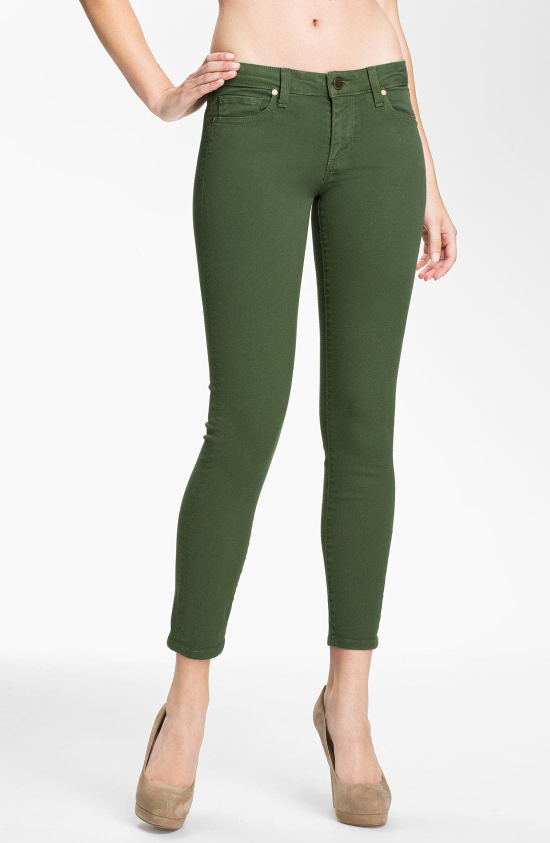 Alternate Image 1 Selected - Paige Denim 'Skyline' Ankle Peg Skinny Stretch Jeans (Forest)