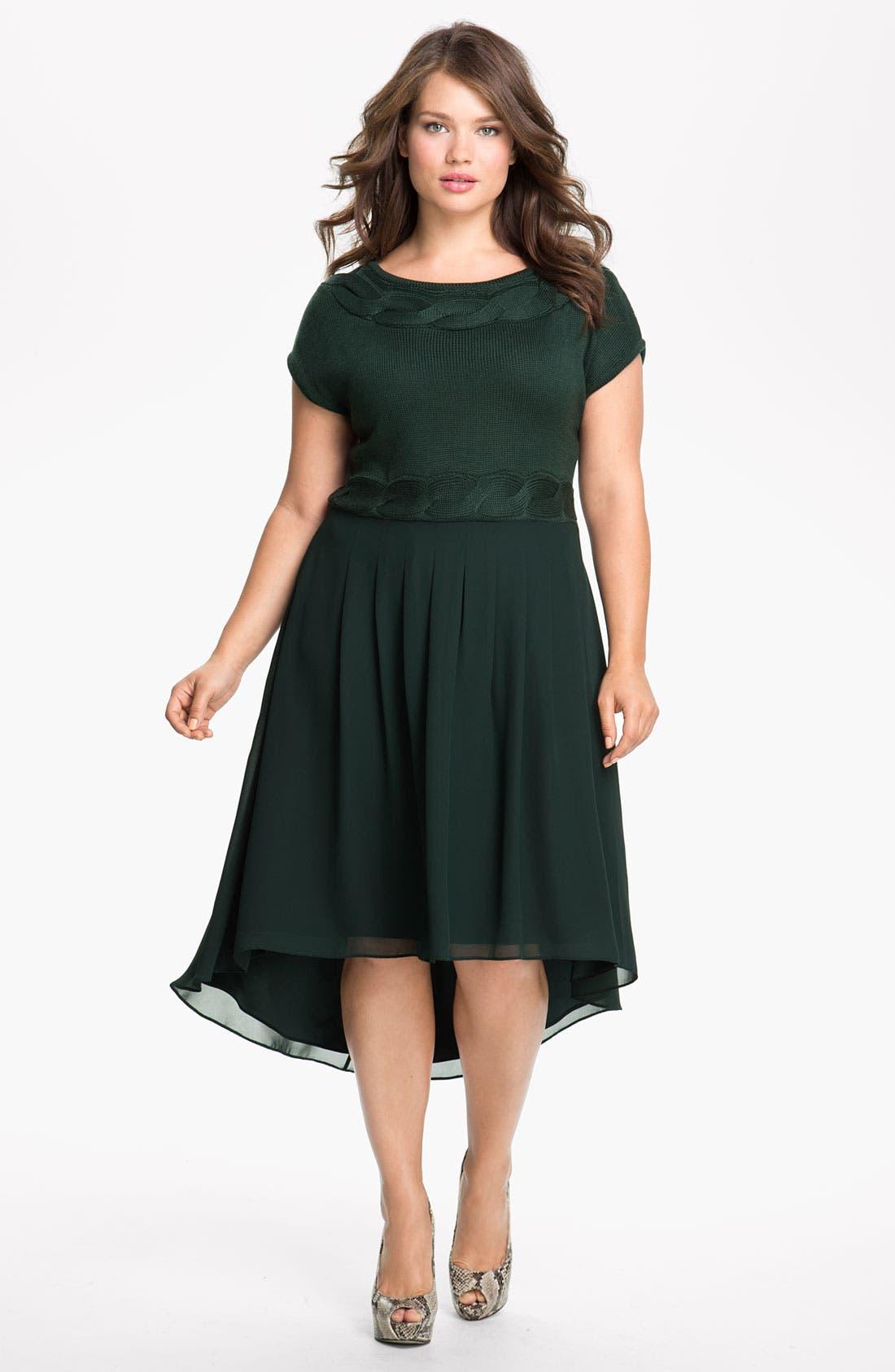 Alternate Image 1 Selected - Jessica Simpson Mock Two Piece Asymmetrical Dress (Plus)