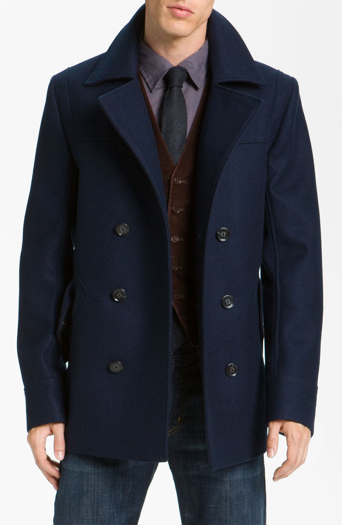 Main Image - HUGO 'Brano' Double Breasted Wool Blend Peacoat