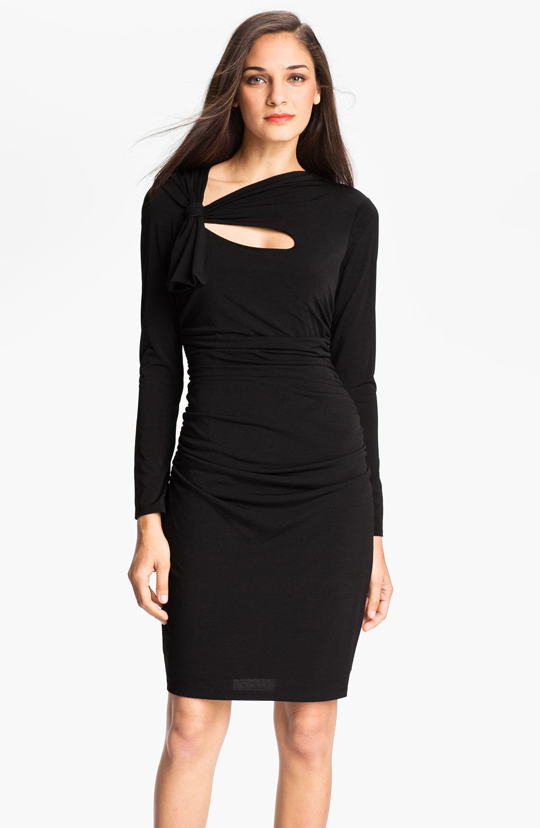 Main Image - Maggy London Tie Neck Jersey Sheath Dress