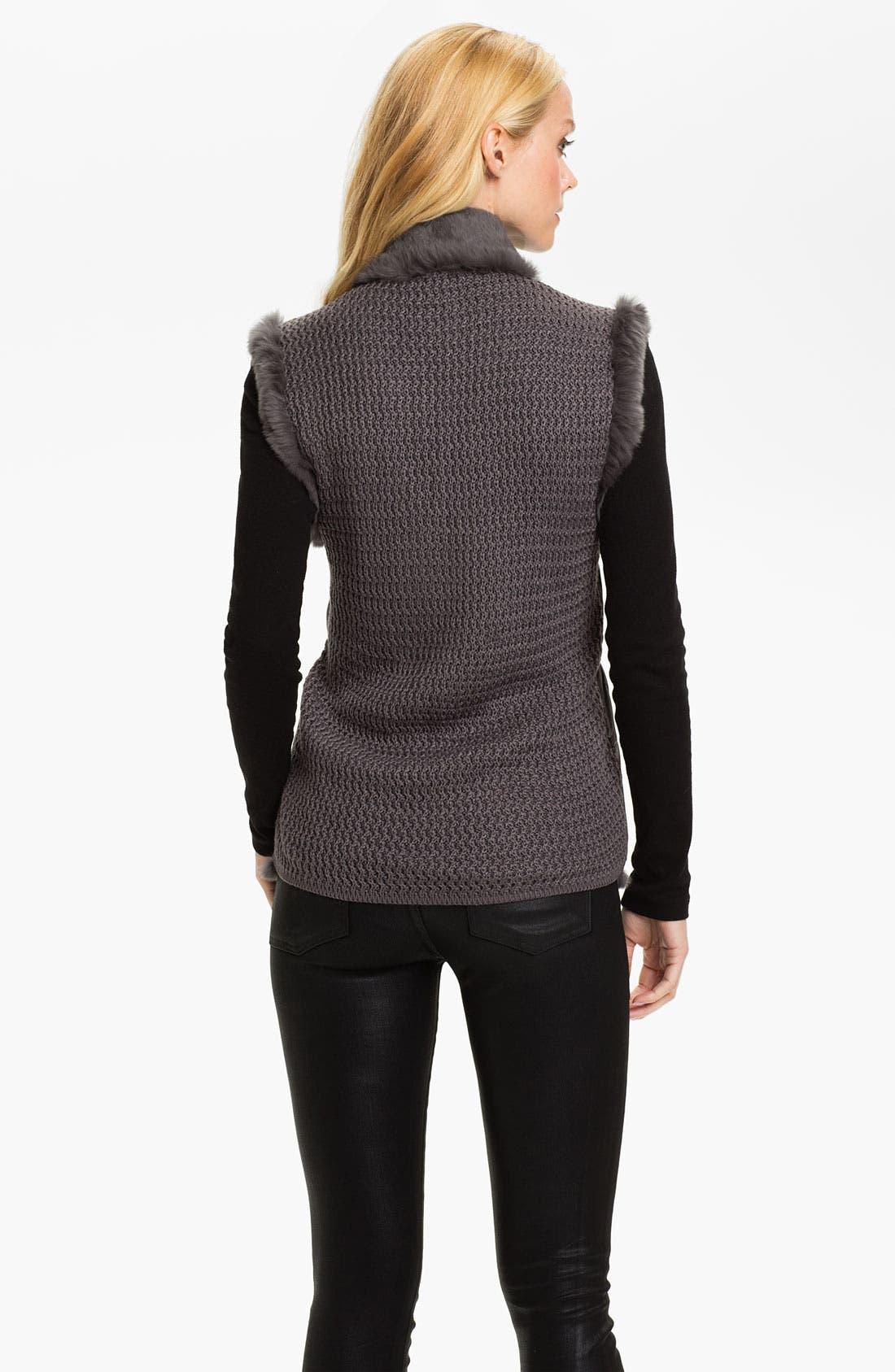 Alternate Image 2  - Linda Richards Reversible Genuine Rabbit Fur Front Vest