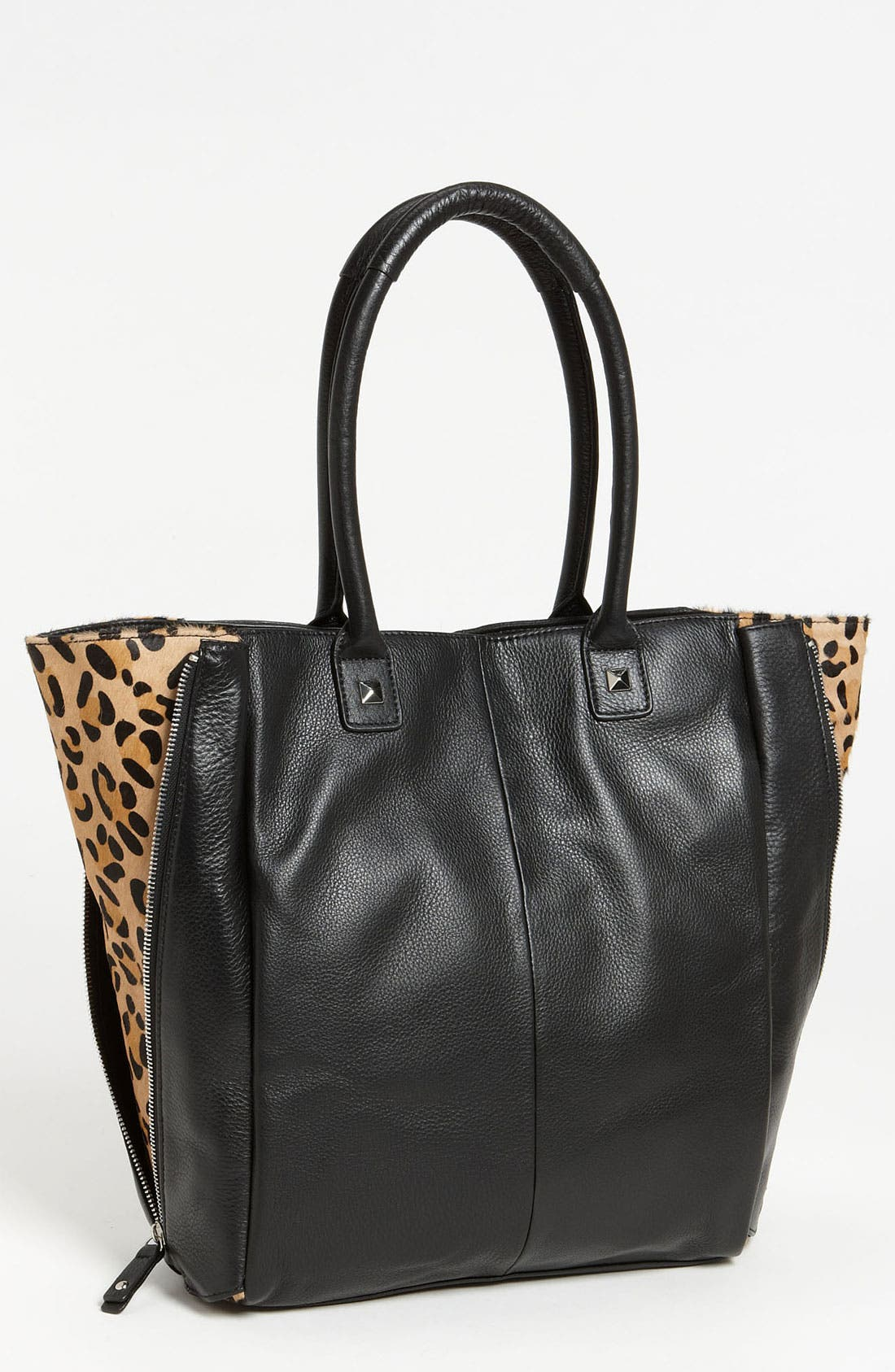 Main Image - Halogen® Calf Hair Zip Out Leather Tote