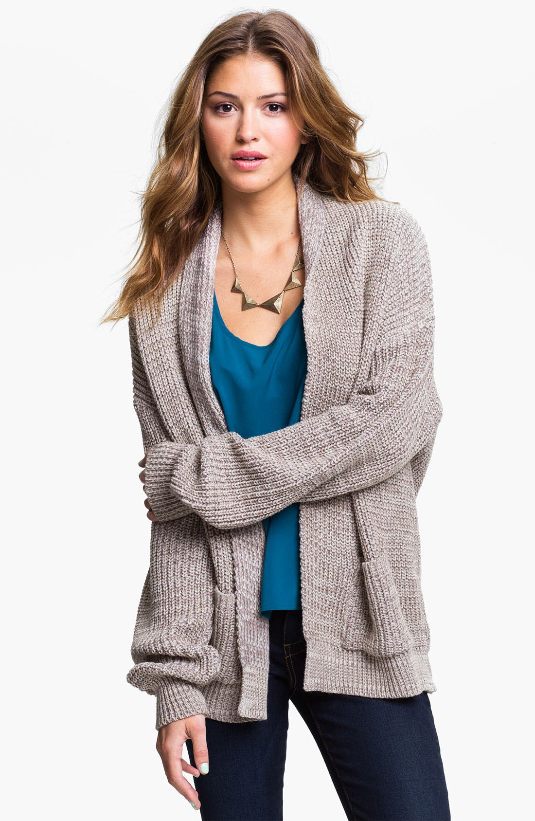 Alternate Image 1 Selected - Cotton Emporium Oversized Cardigan (Juniors)
