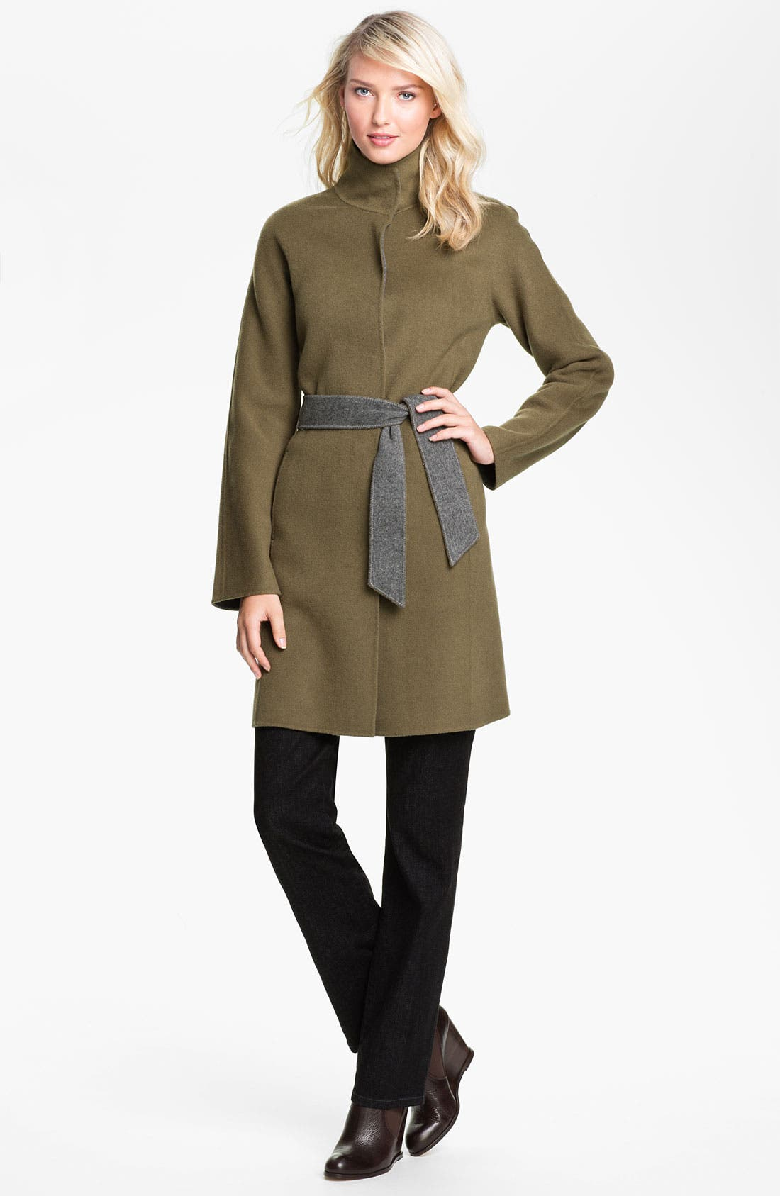 Alternate Image 4  - Eileen Fisher High Collar Belted Coat