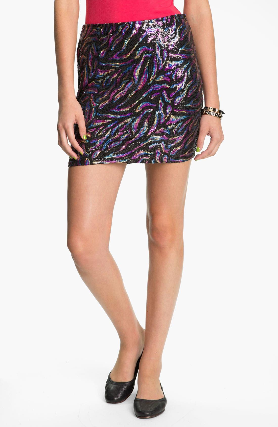 Main Image - Lily White Sequin Skirt (Juniors)