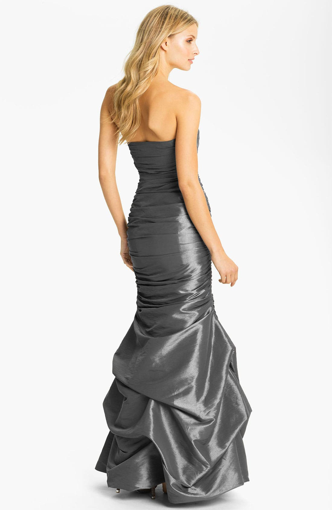 Alternate Image 2  - Dalia MacPhee Strapless Ruched Taffeta Mermaid Gown
