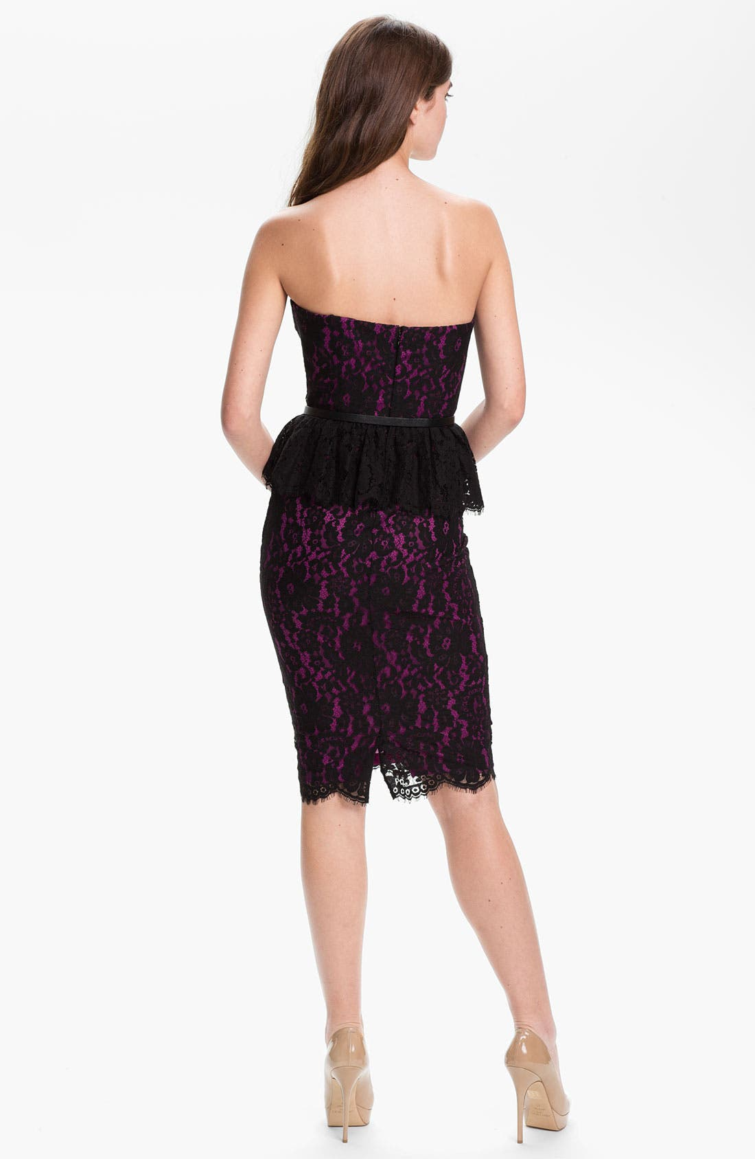 Alternate Image 2  - Robert Rodriguez Strapless Lace Peplum Dress