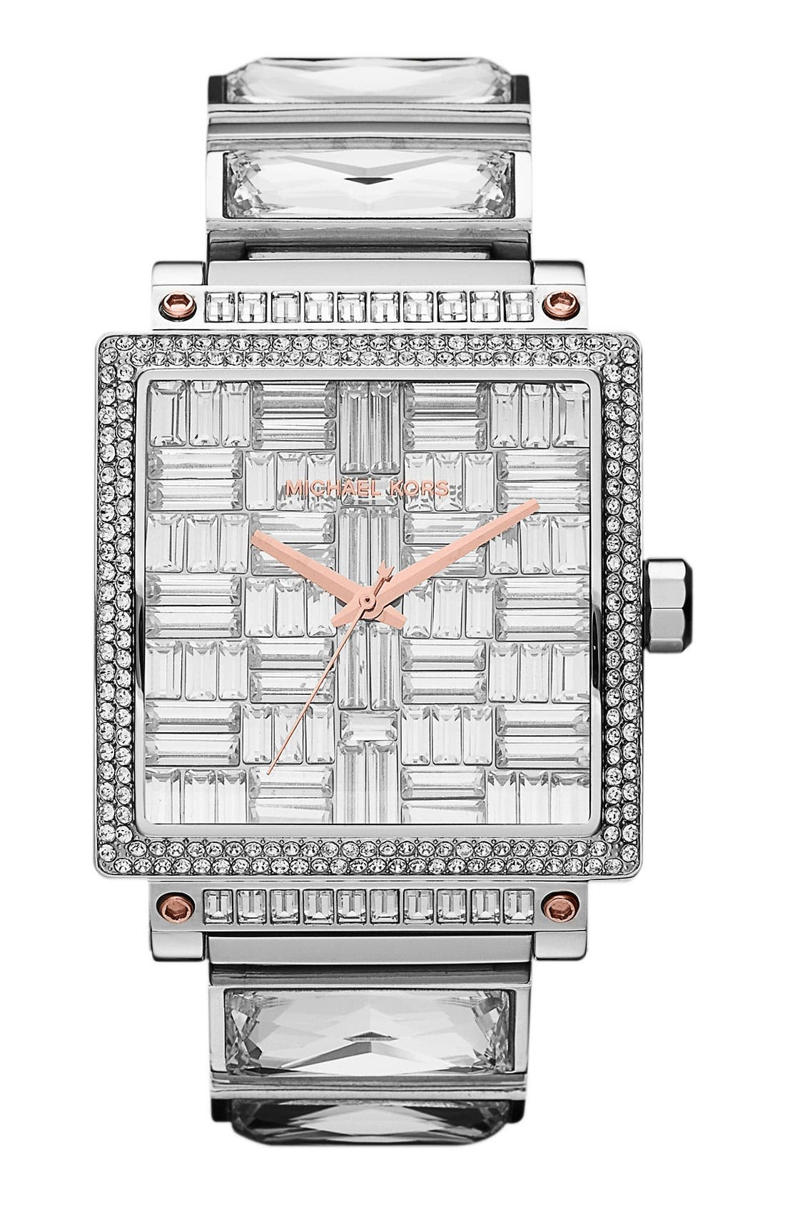 Alternate Image 1 Selected - Michael Kors 'Uptown' Baguette Crystal Square Case Watch
