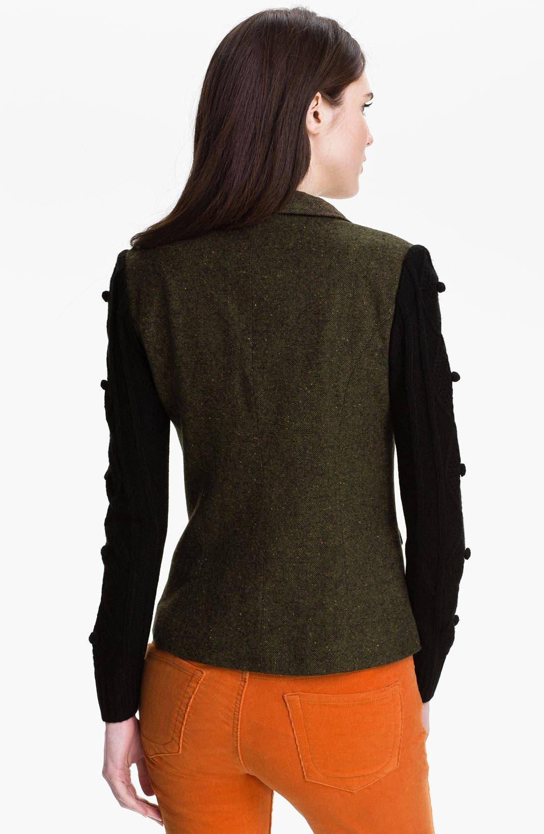 Alternate Image 2  - Kensie Knit Sleeve Tweed Jacket