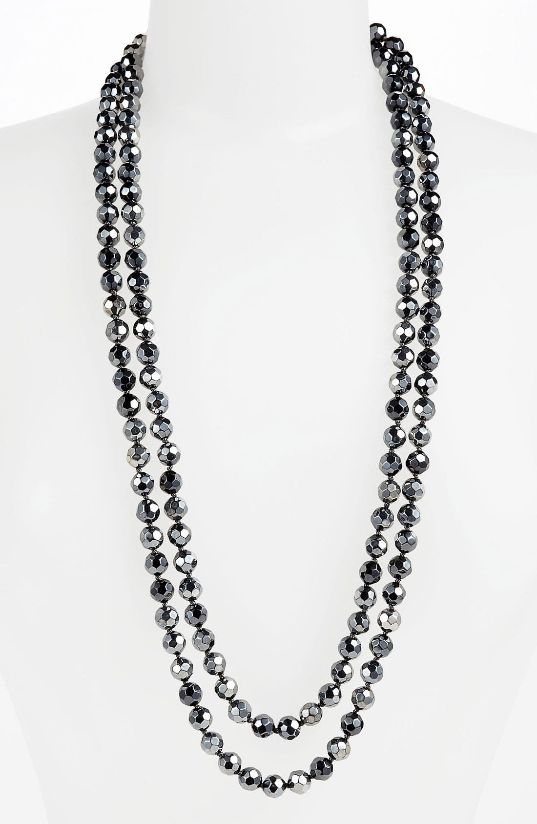 Main Image - Nordstrom Metallic Bead Extra Long Necklace