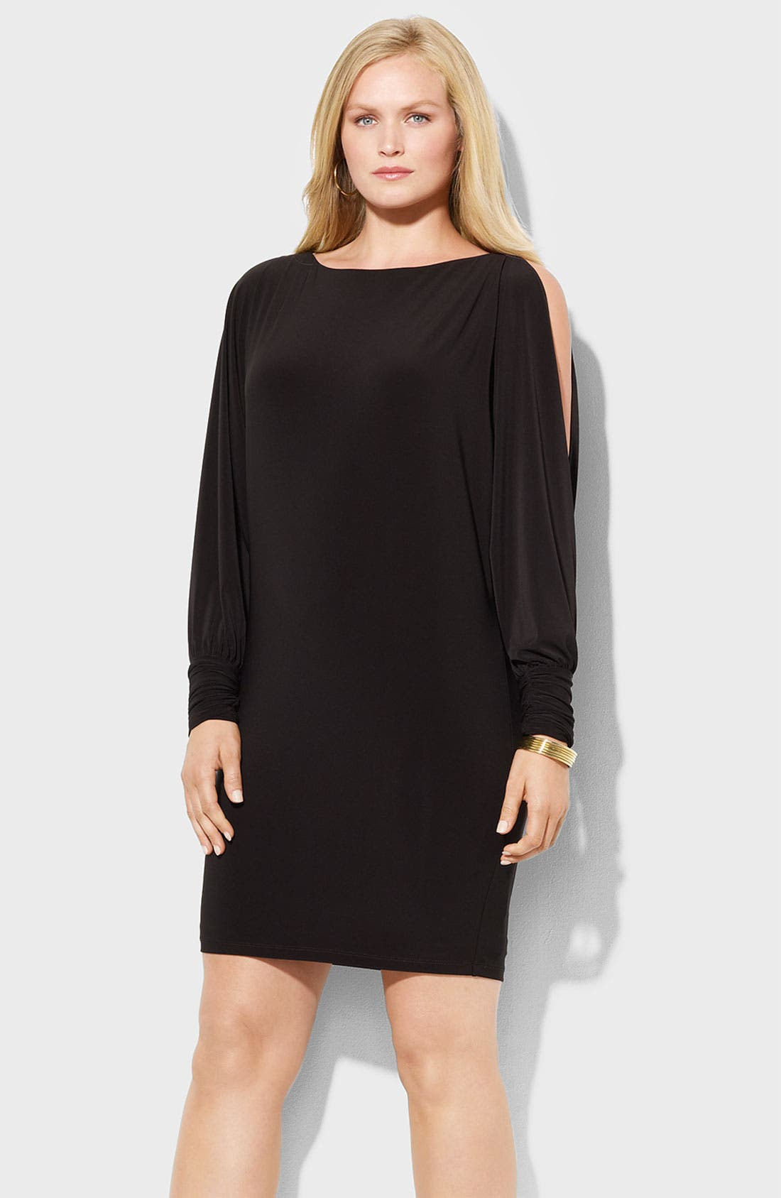 Alternate Image 2  - Lauren Ralph Lauren Split Sleeve Matte Jersey Shift Dress (Plus)