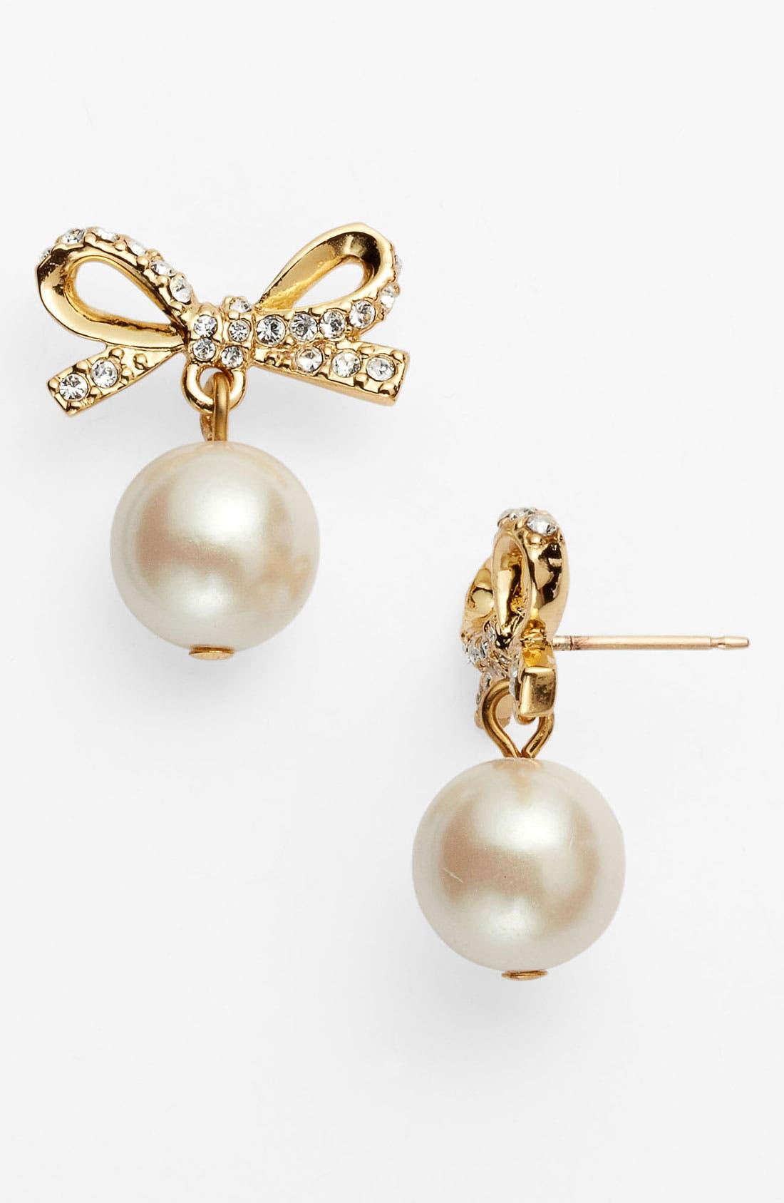 Main Image - kate spade new york 'skinny mini' bow drop earrings