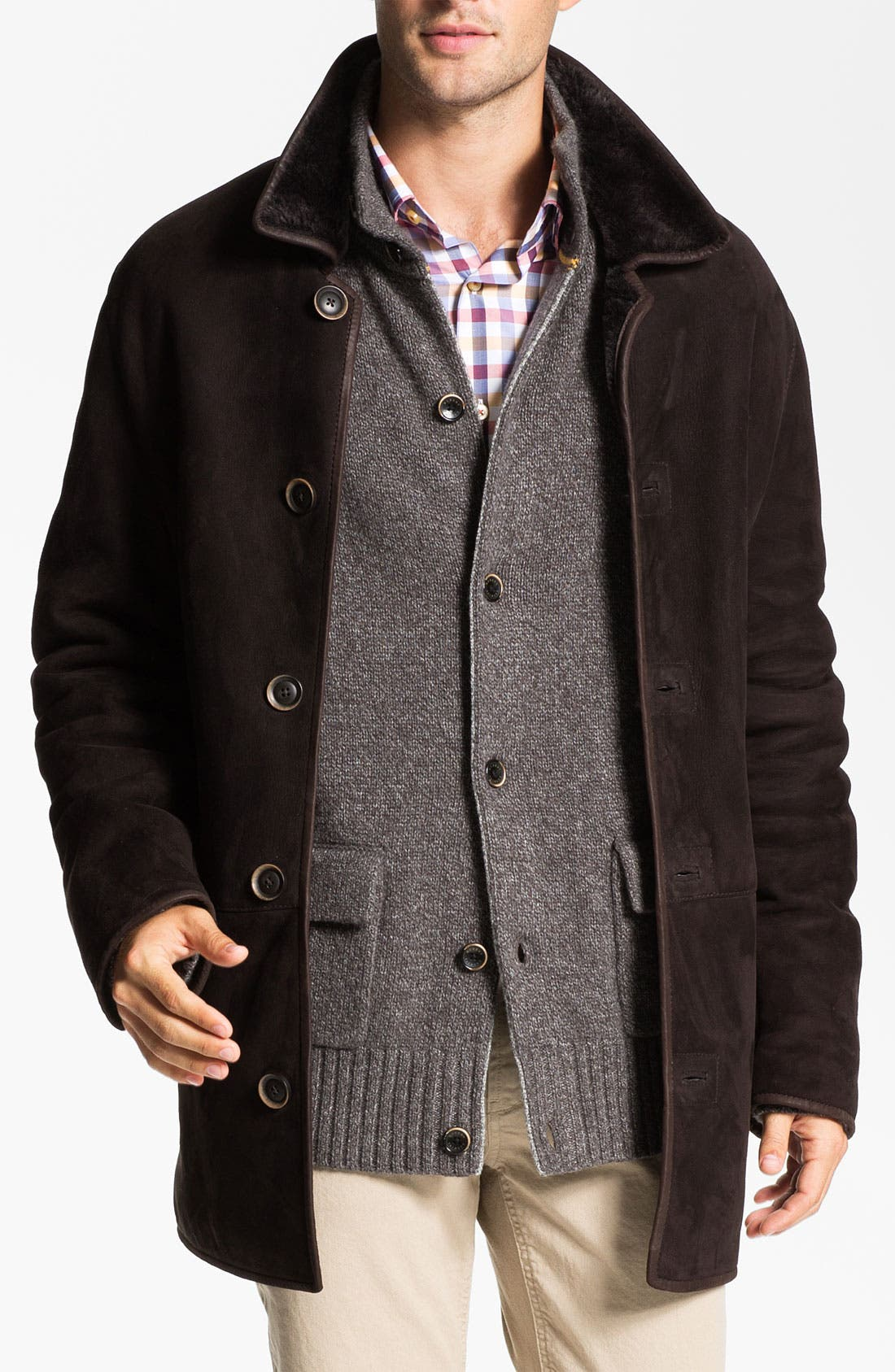 Alternate Image 1 Selected - Robert Talbott Suede Coat with Genuine Shearling Lining