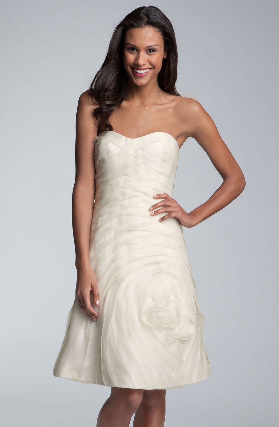 Main Image - Carmen Marc Valvo Pleated Rosette Silk Chiffon Dress