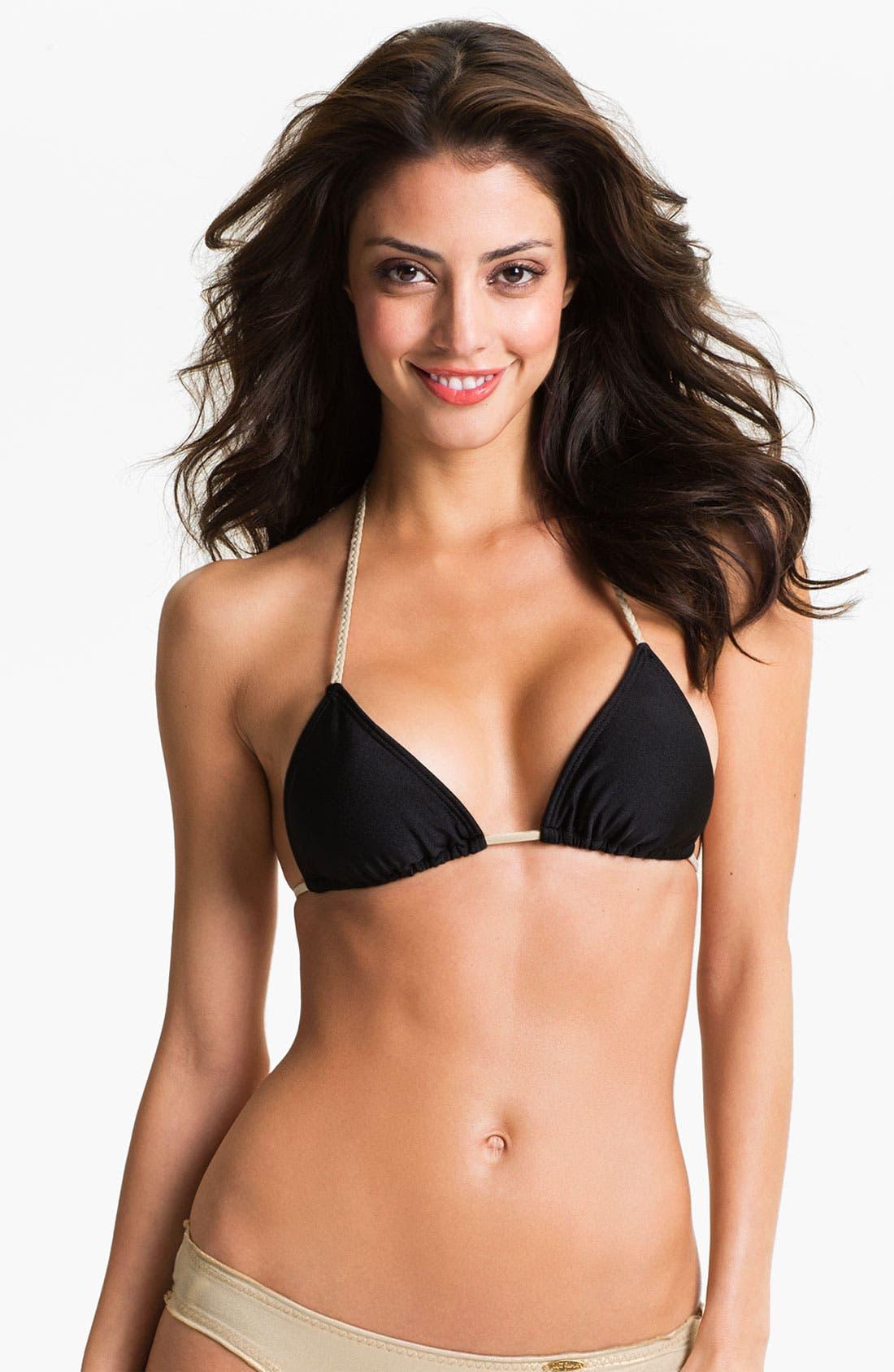 Alternate Image 1 Selected - Luli Fama Braided Strap Triangle Bikini Top