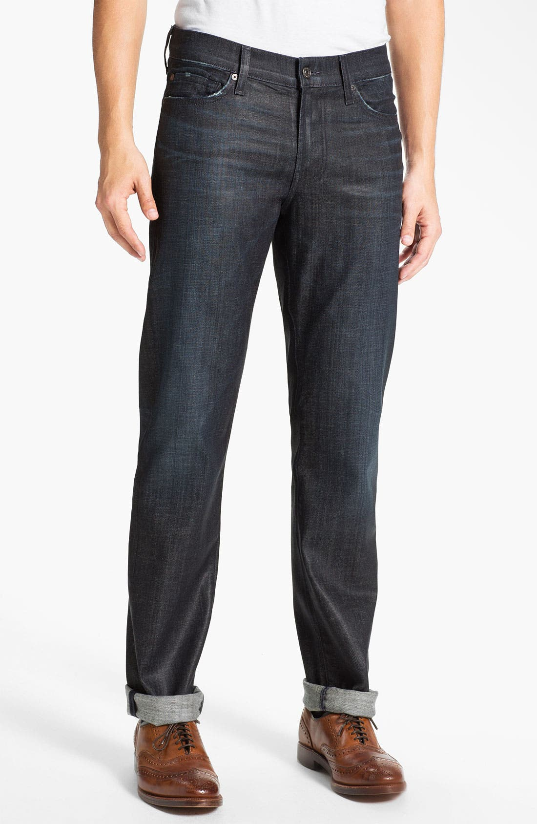 Alternate Image 1 Selected - 7 For All Mankind® 'Slimmy' Slim Straight Leg Jeans (Waxed Denim)