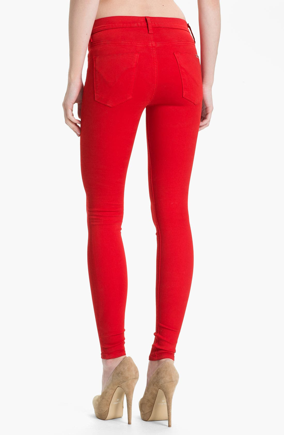 Alternate Image 2  - Hudson Jeans 'Nico' Skinny Overdyed Jeans (Red)
