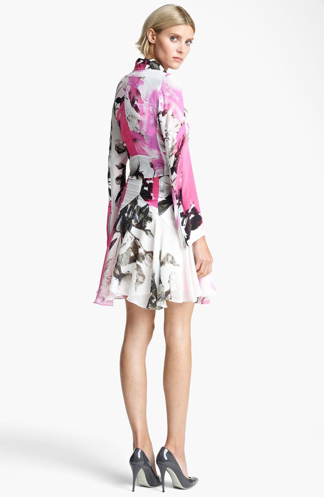 Alternate Image 3  - Christopher Kane Rose Print Biker Jacket