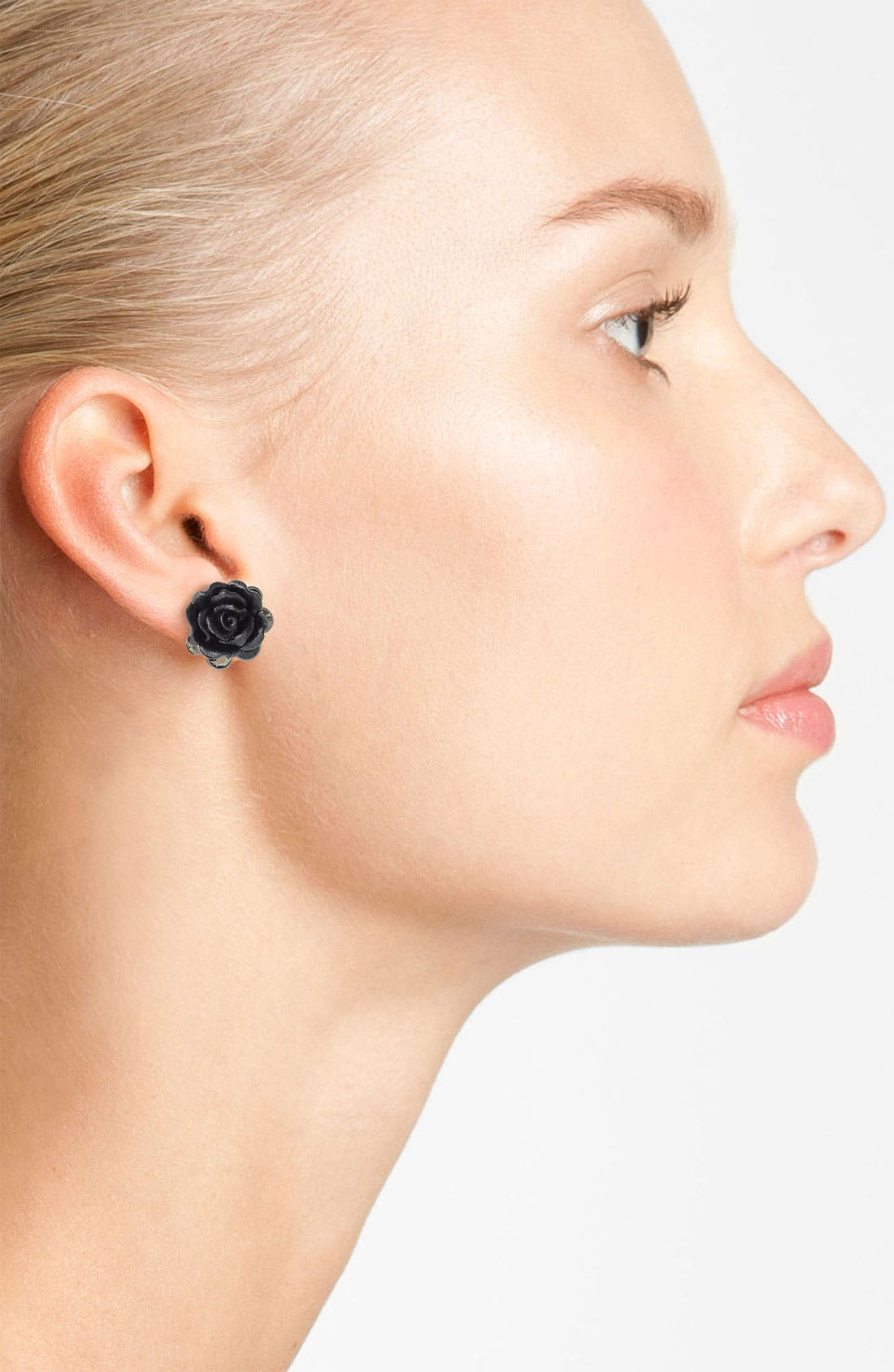 Alternate Image 2  - Nordstrom 'Dark Glamour' Flower Stud Earrings