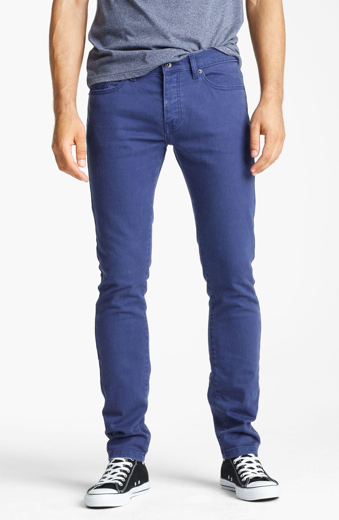 Main Image - Topman Stretch Skinny Jeans (Medieval Blue)