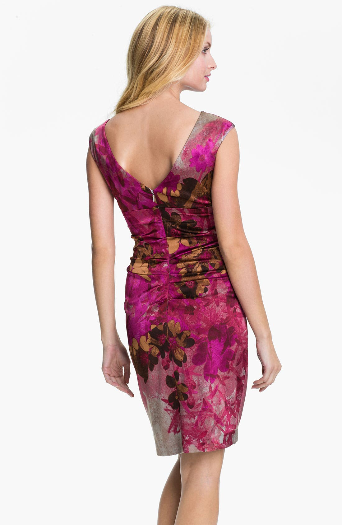 Alternate Image 2  - Kay Unger Print Beaded Yoke Sheath Dress