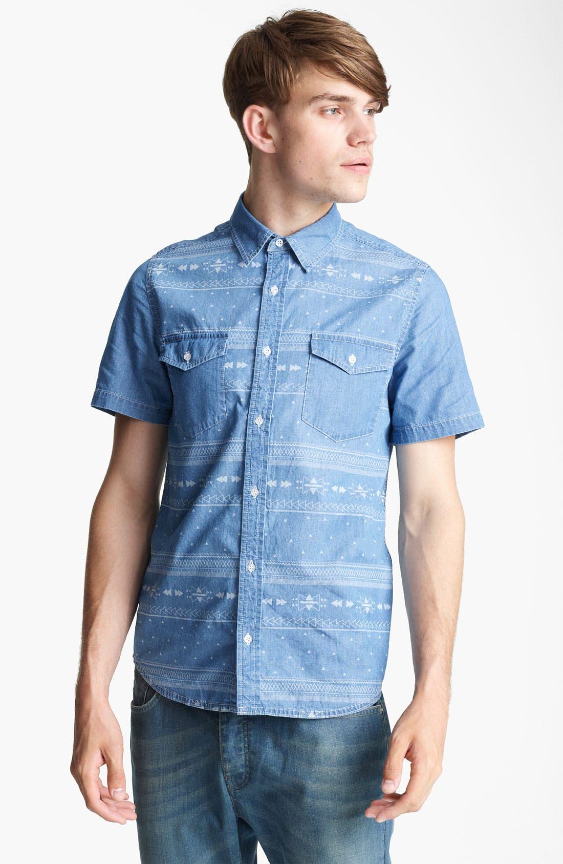 Alternate Image 1 Selected - Topman 'Aztec' Print Denim Shirt