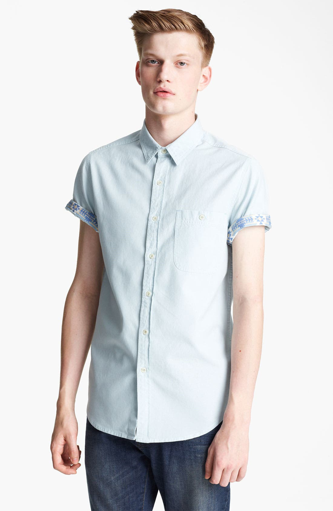 Alternate Image 1 Selected - Topman Short Sleeve Chambray Shirt