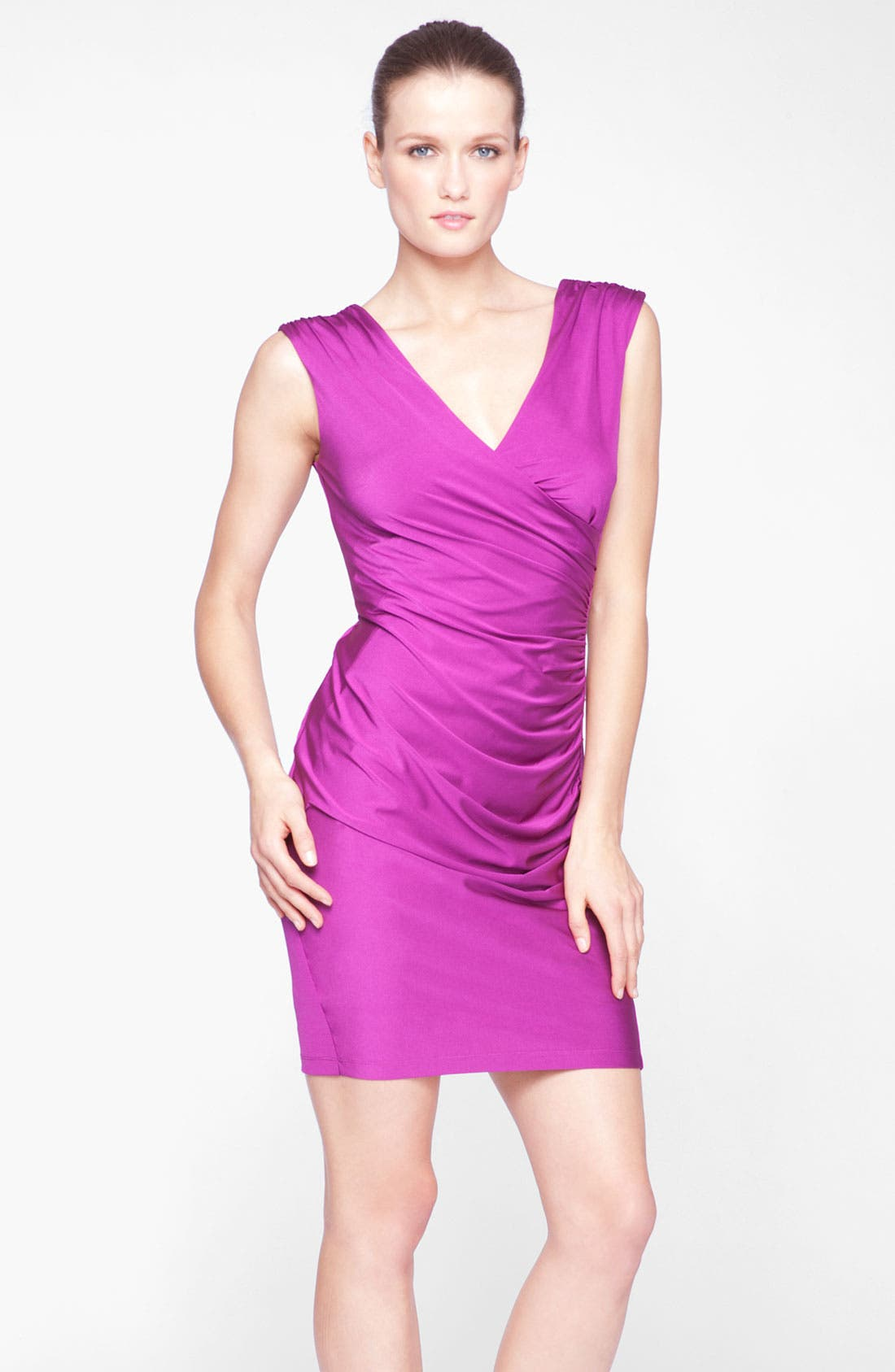 Main Image - Marc New York by Andrew Marc Exposed Zip Ruched Jersey Sheath Dress