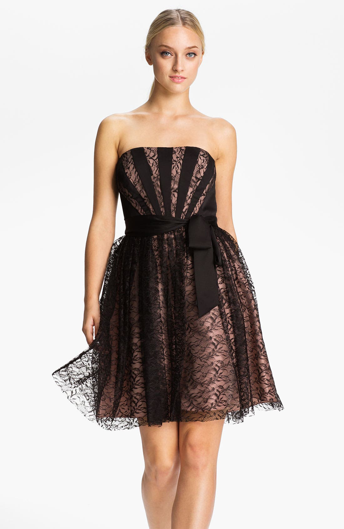 Main Image - Max & Cleo 'Rebecca' Strapless Satin & Lace Dress