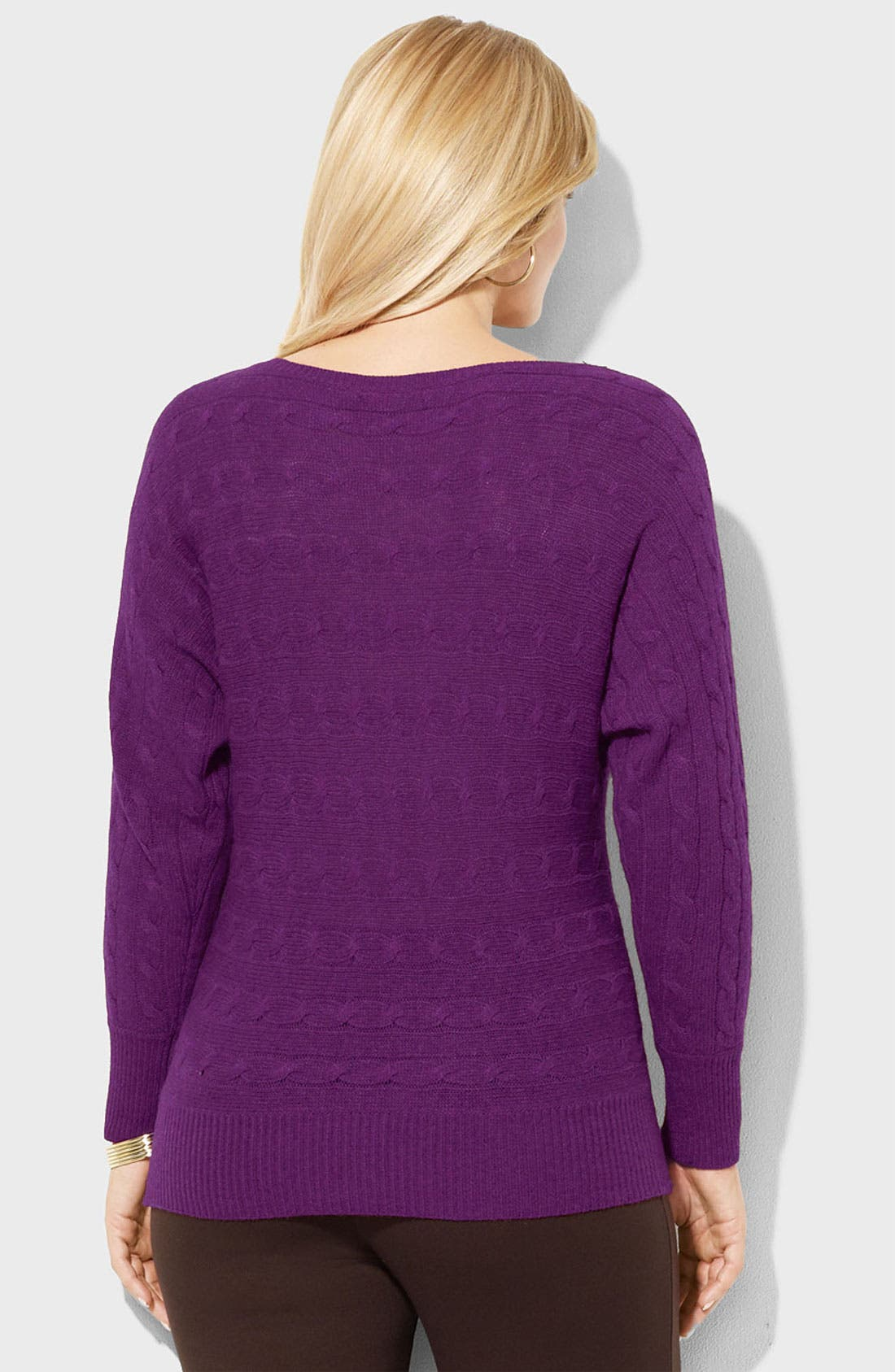 Alternate Image 2  - Lauren Ralph Lauren Bateau Neck Cable Sweater (Plus)