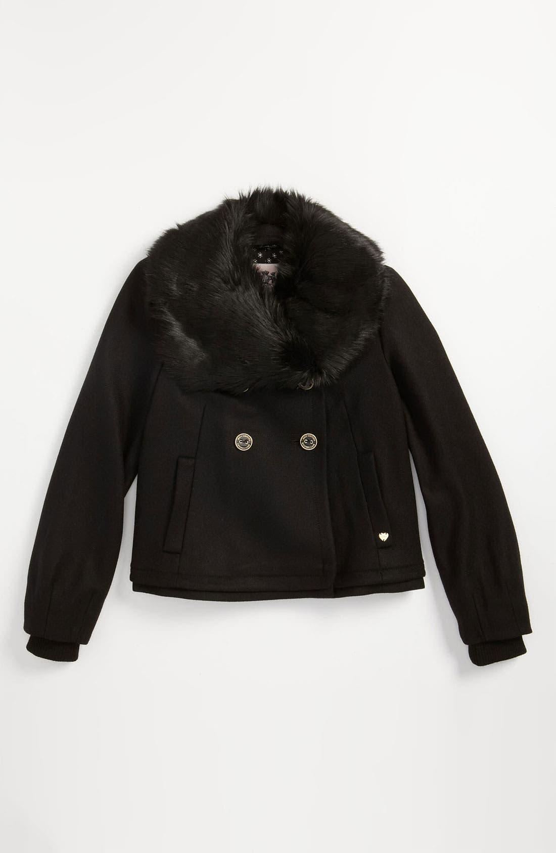 Main Image - Juicy Couture Faux Fur Collar Jacket (Little Girls & Big Girls)