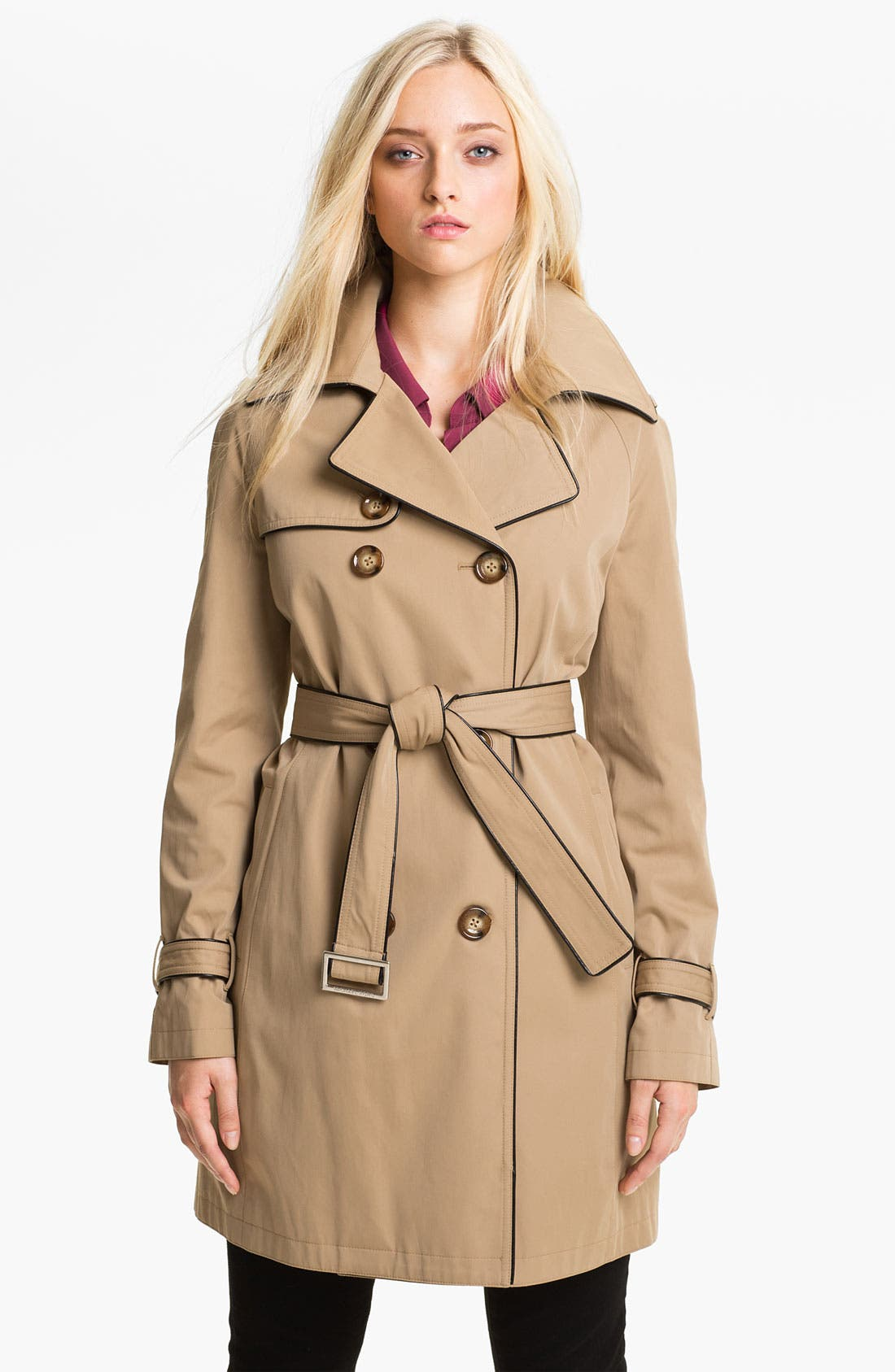 Main Image - MICHAEL Michael Kors Piped Trench Coat with Detachable Liner